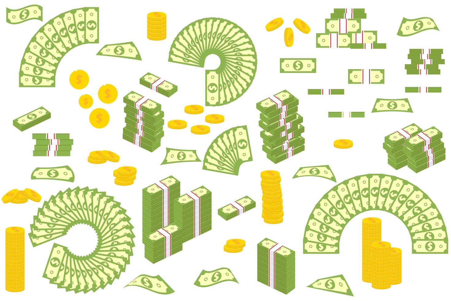 Golden coins and banknotes isolated on white background vector