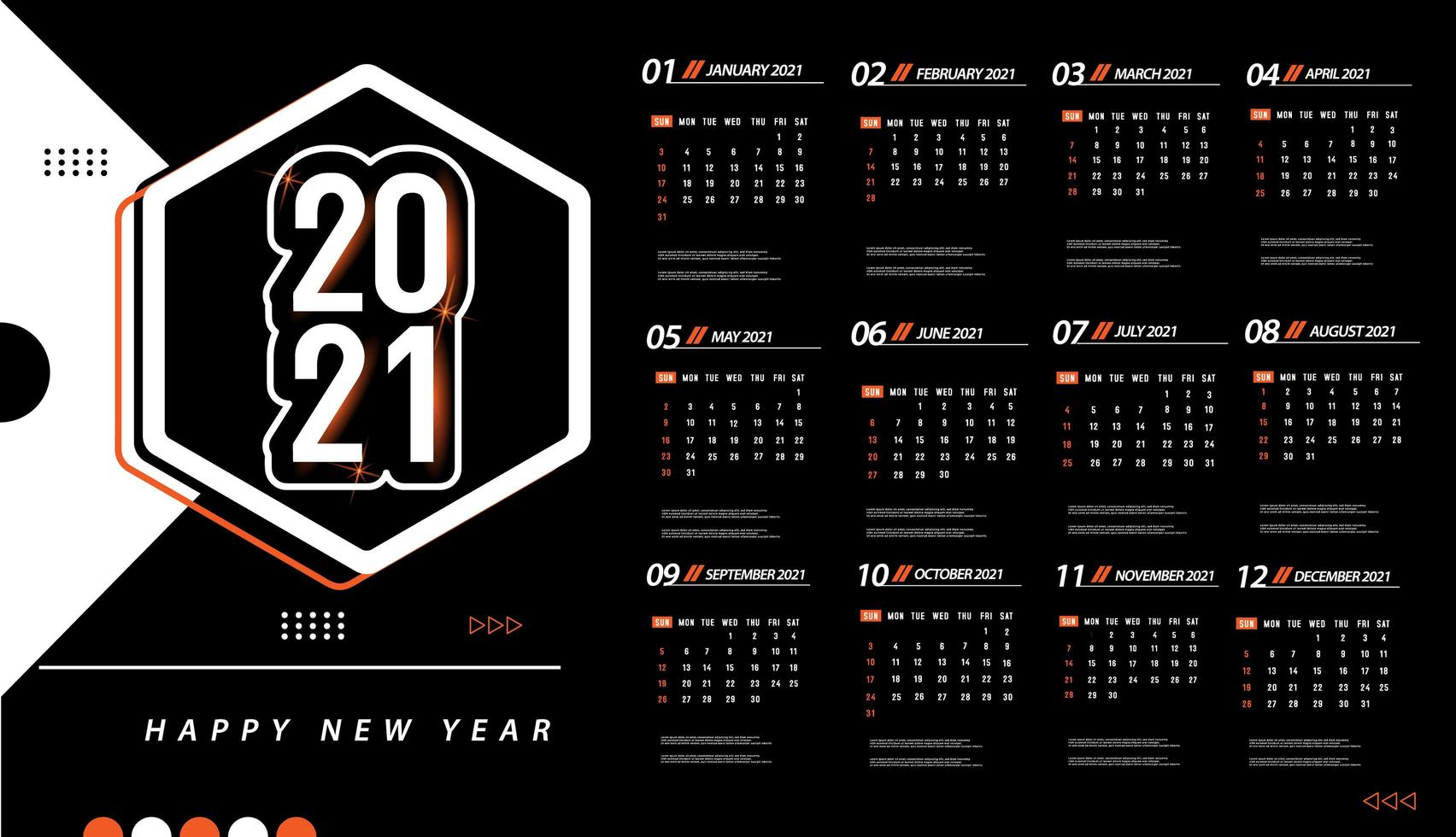 2021 Vector Calendar One page 2021 calendar template   Download Free Vectors, Clipart