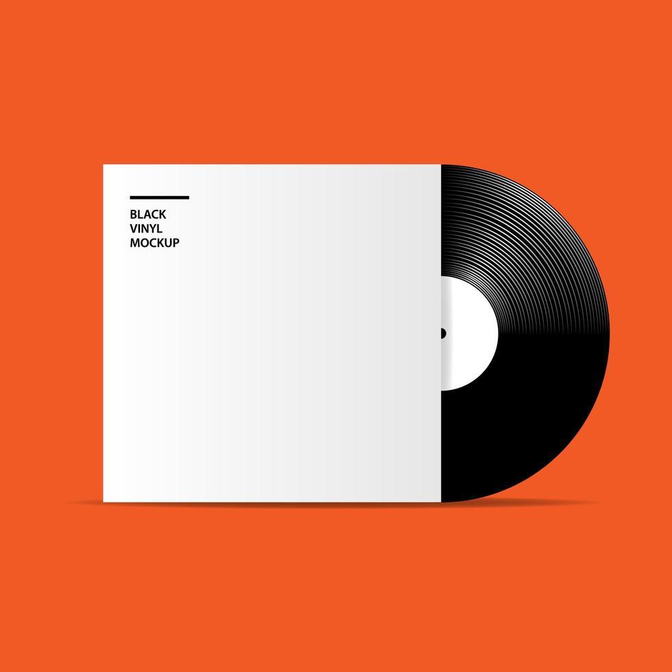 Realistic vinyl record, mockup template vector