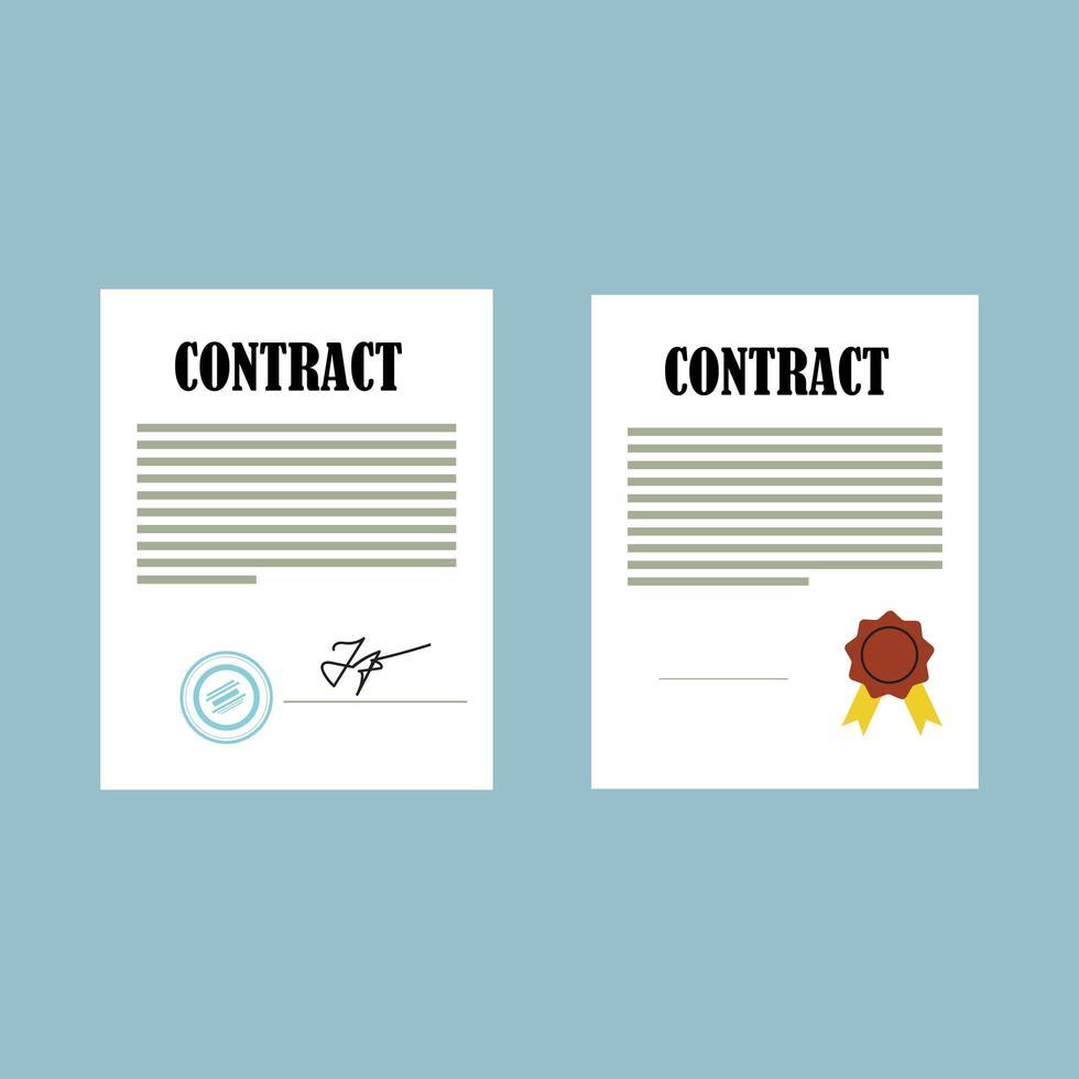 Contract document in flat design vector