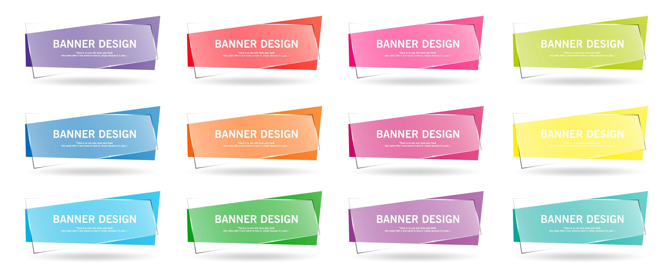 Colorful set of geometric banners with transparent overlay vector
