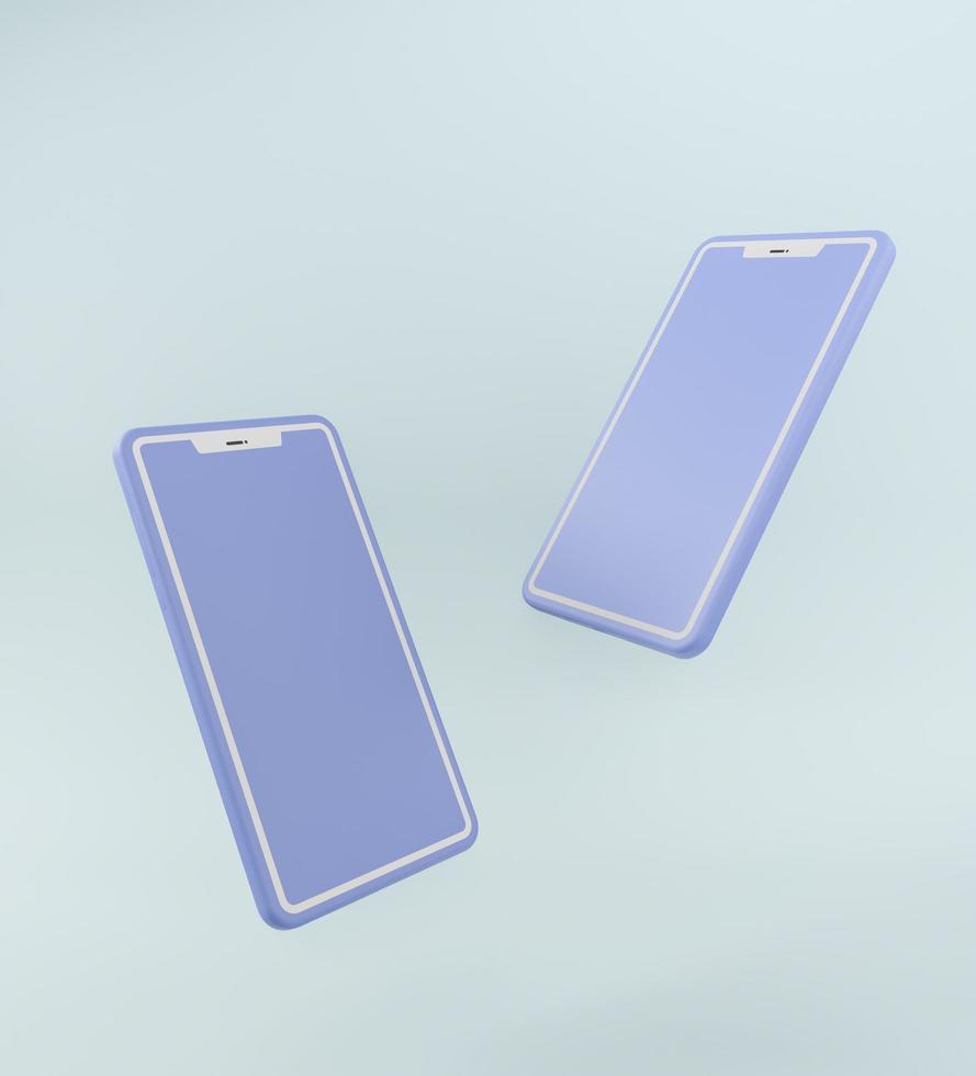 Pastel blue smartphones in 3d rendering photo