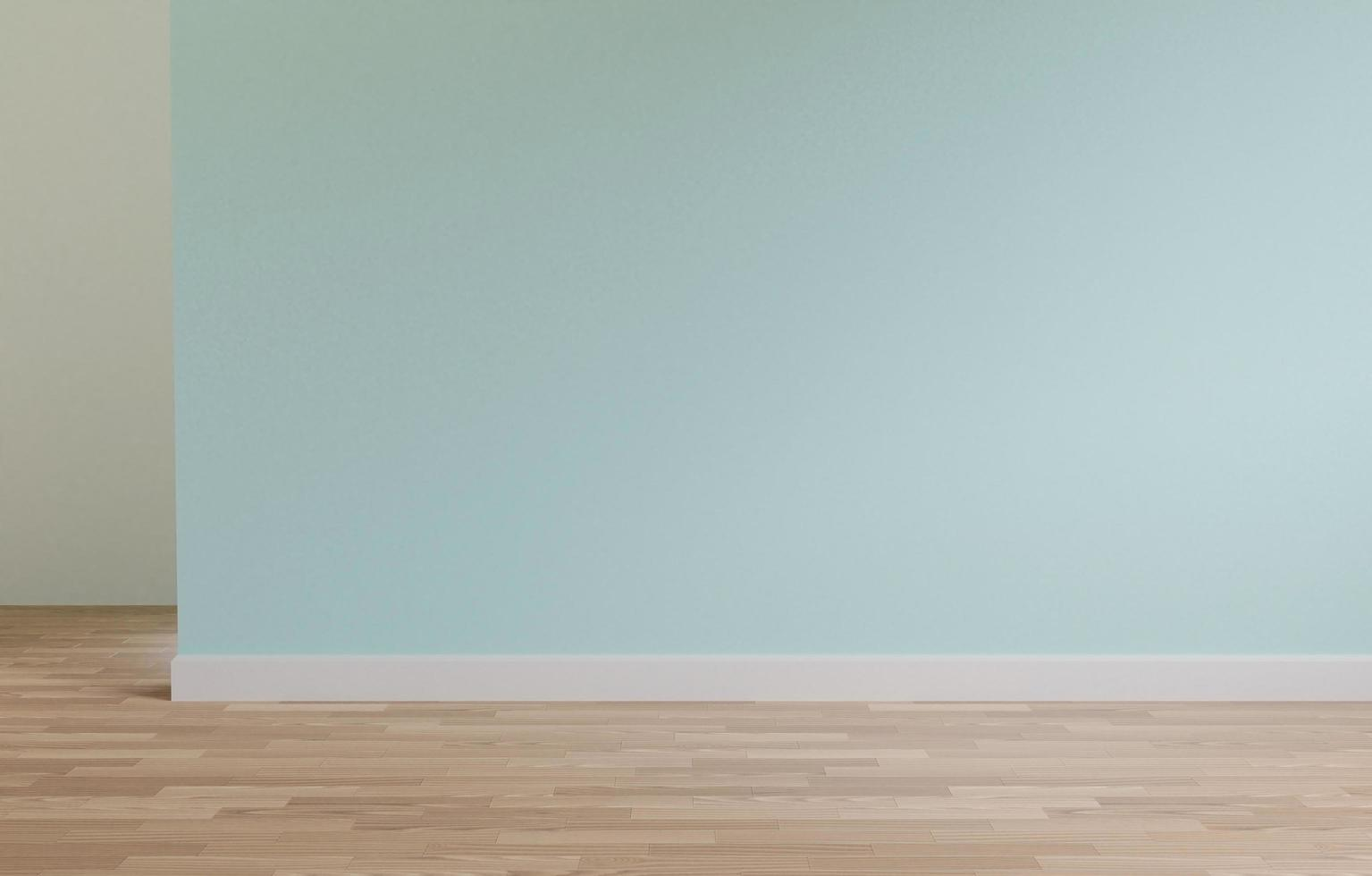 Green wall and wooden floor 3D rendering photo