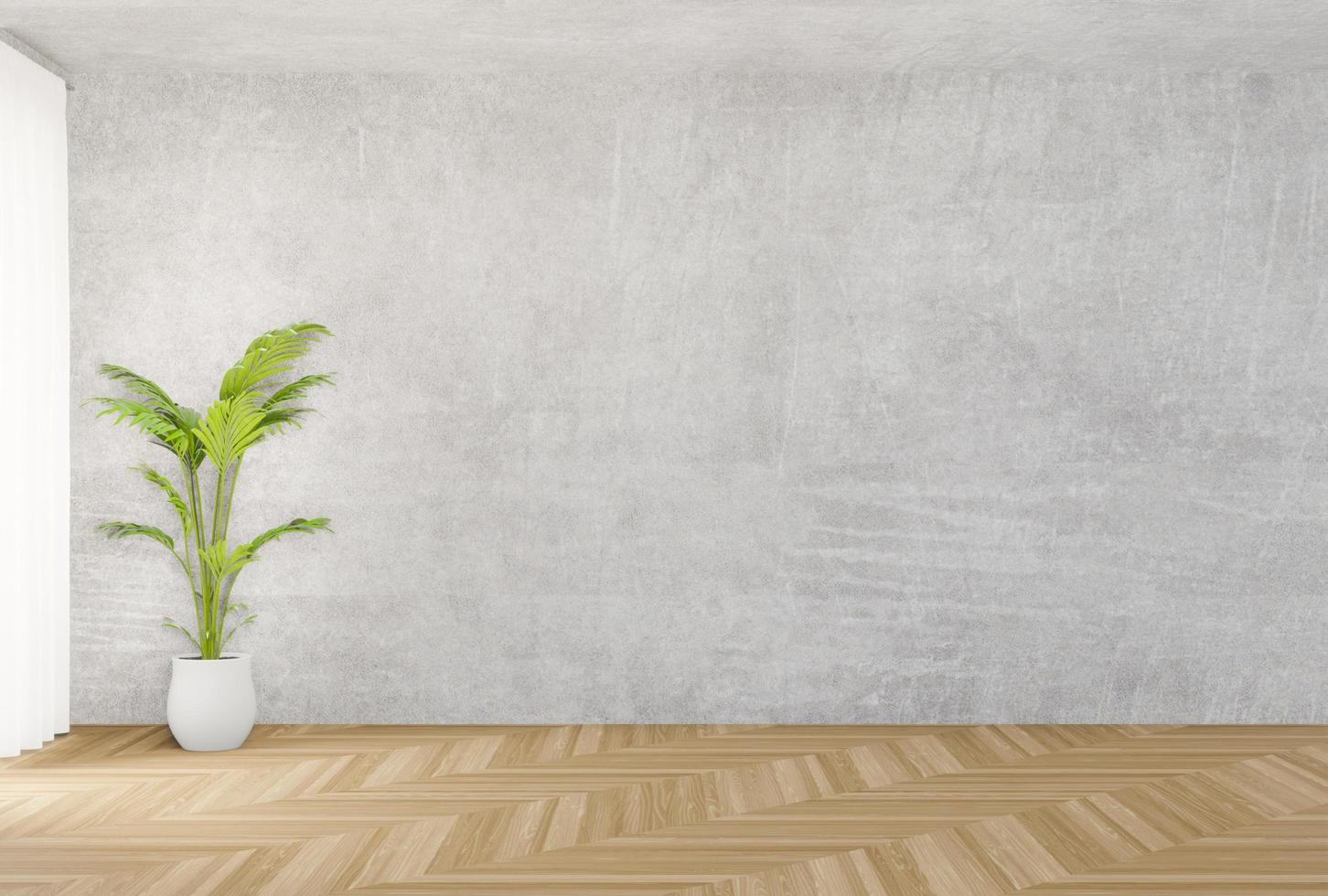 Concrete wall and wooden floor mock up  photo