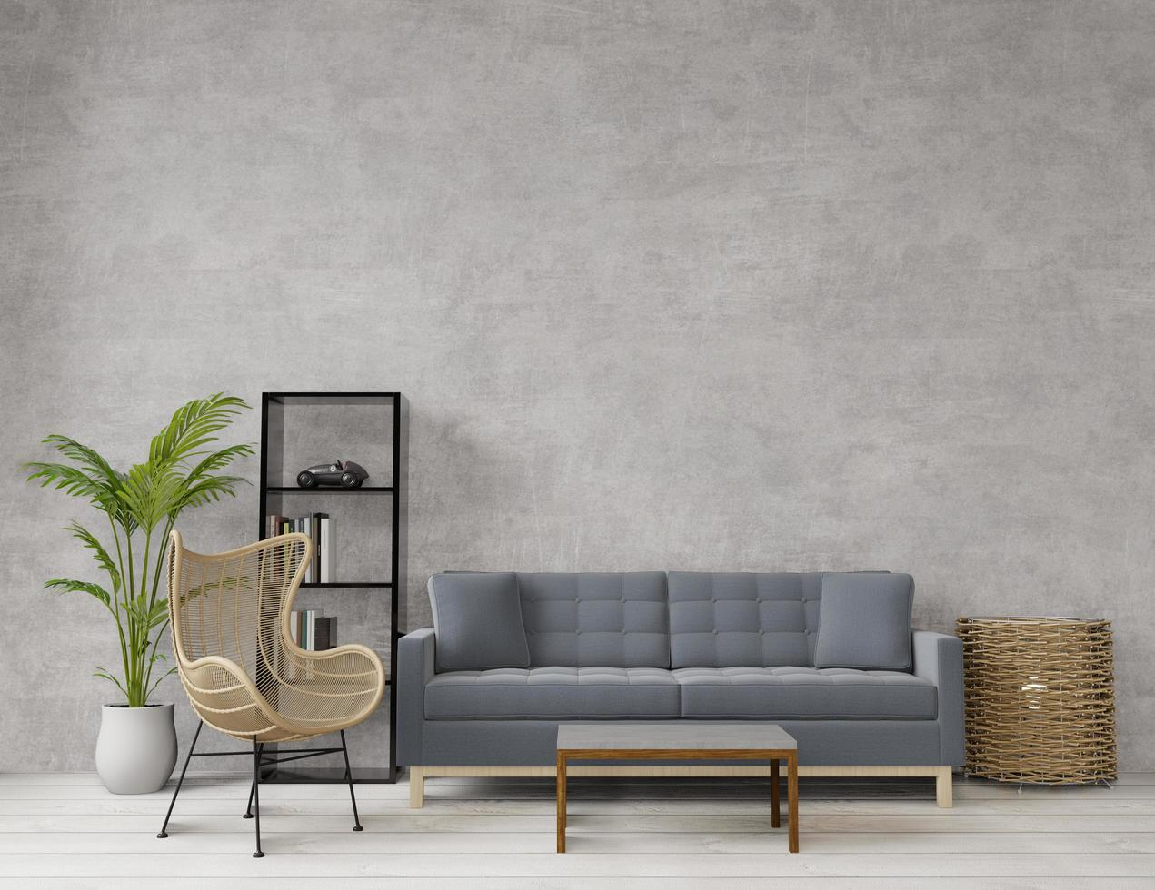 Loft style living room with raw concrete  photo