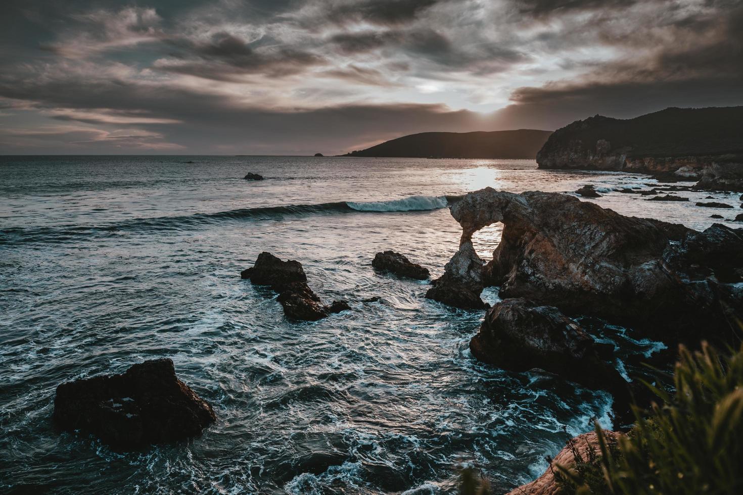 Rocky coastal shoreline photo