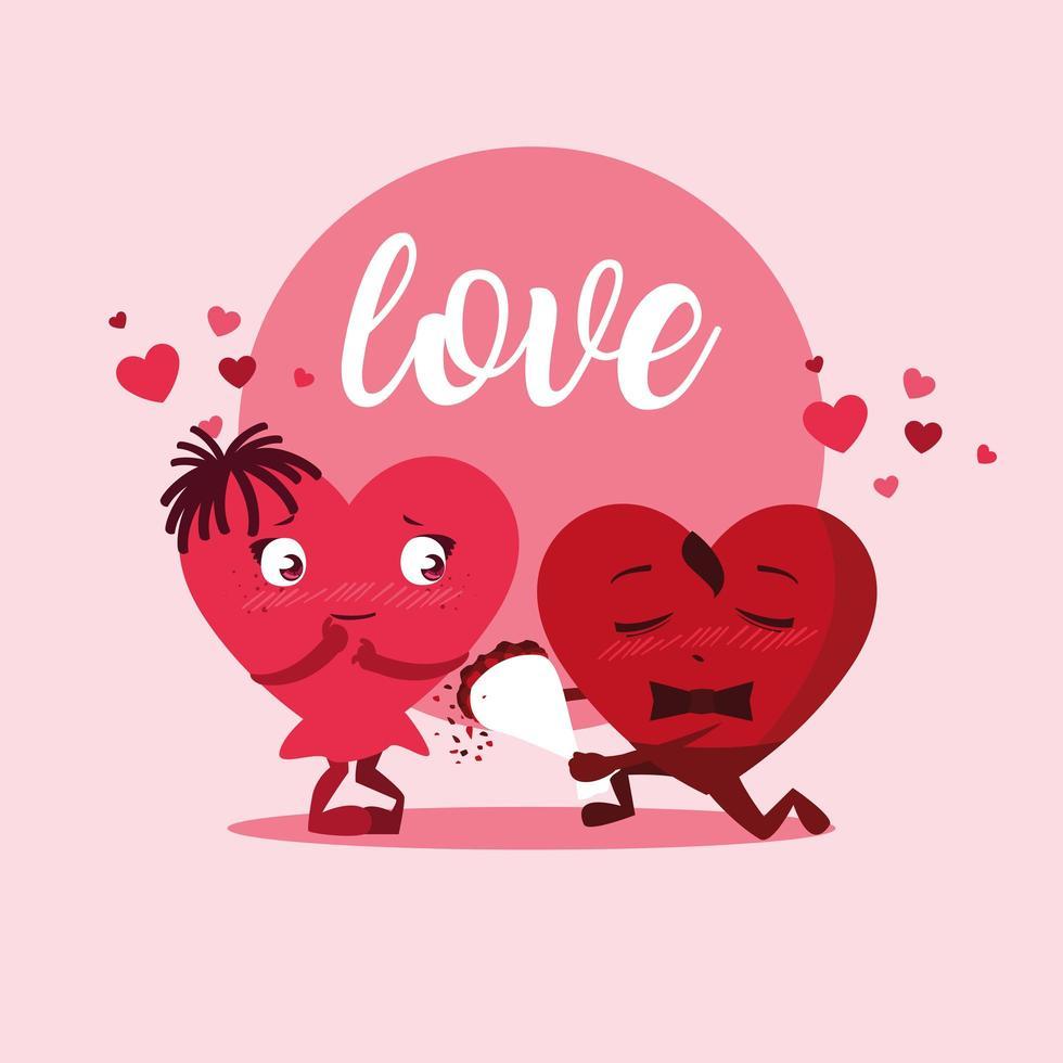 corazones pareja con rosas ramo personajes vector