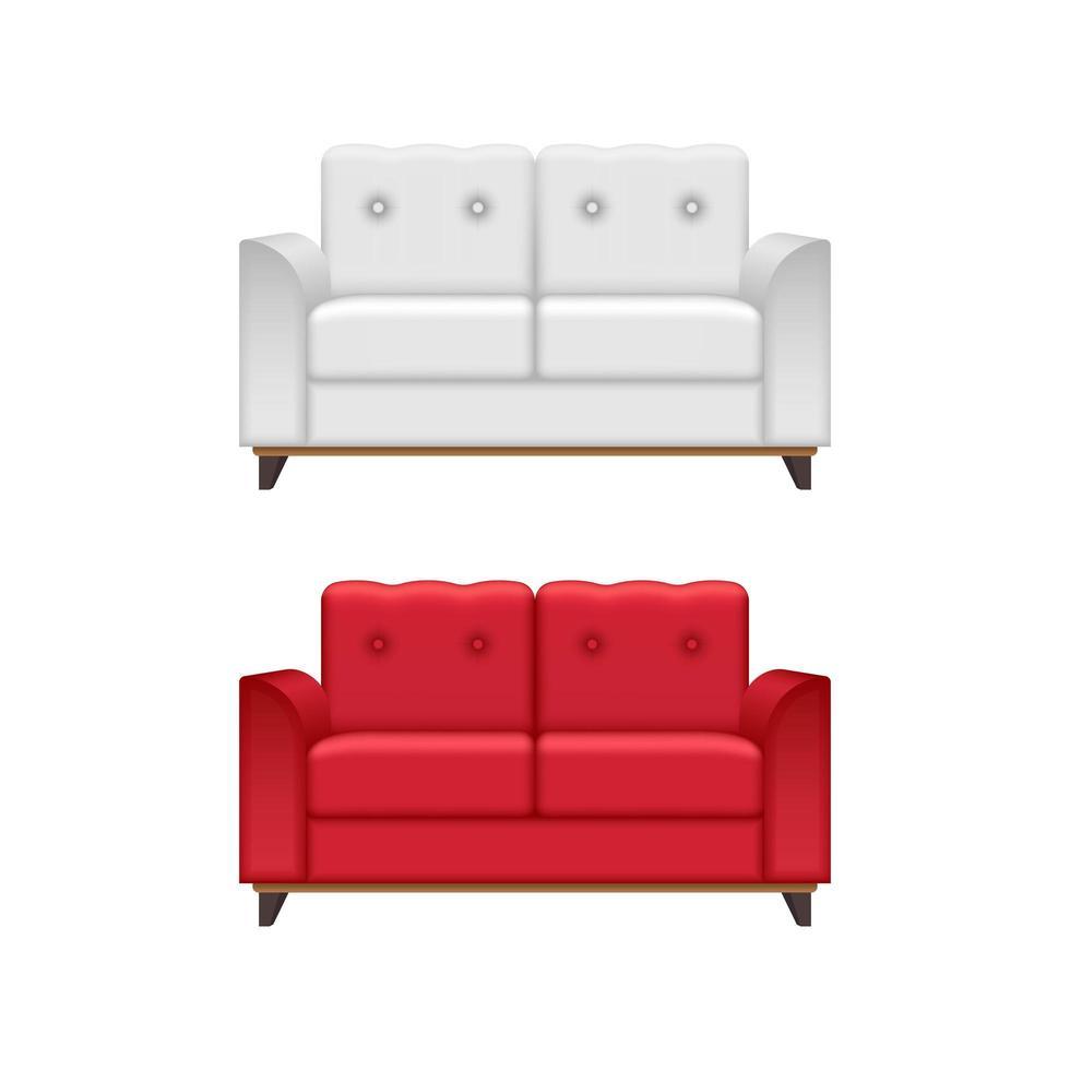 sofá rojo y blanco aislado vector