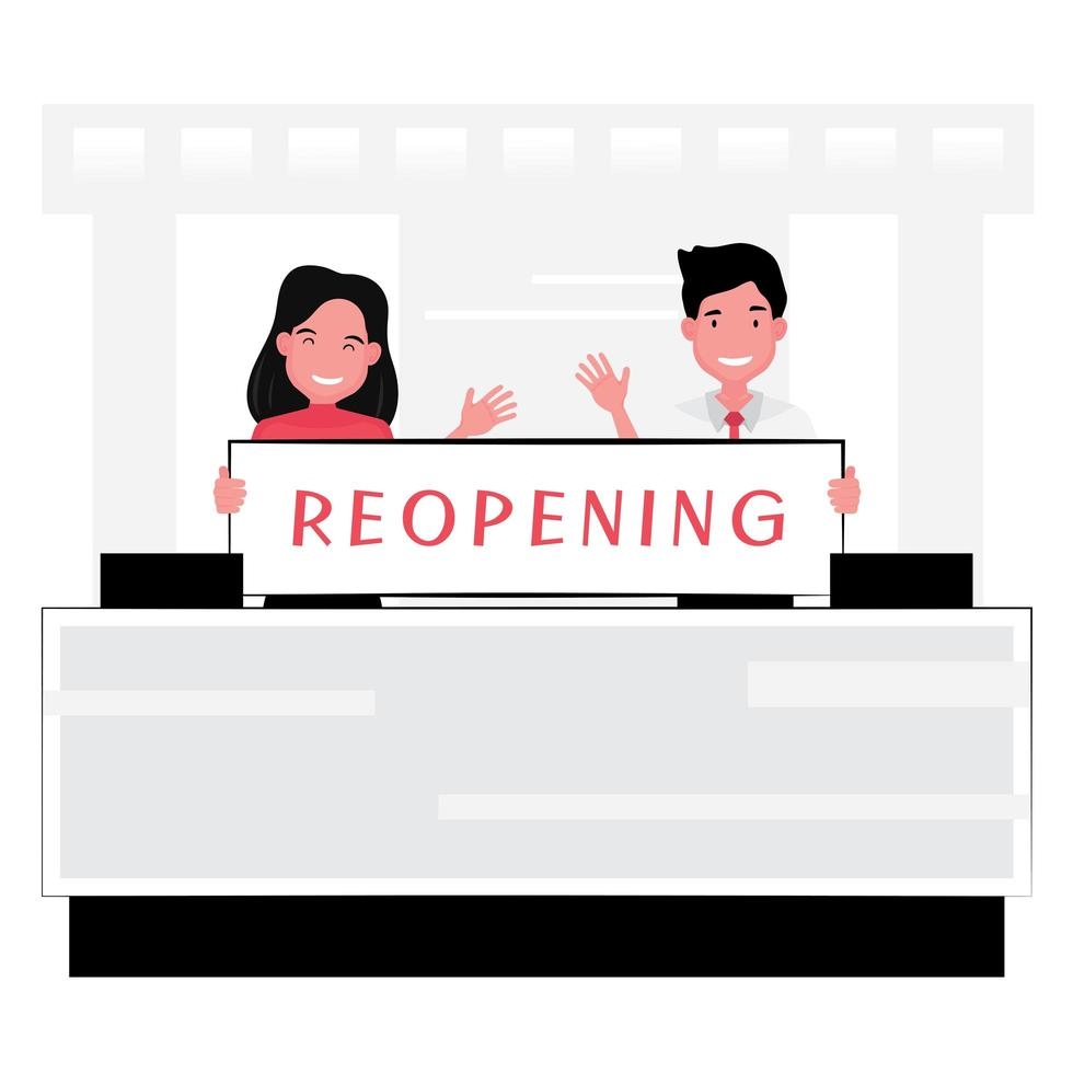 Restaurant and hotel reopening design  vector