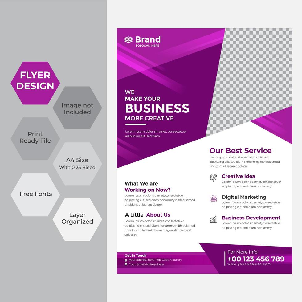 Business flyer in A4 with purple triangles vector