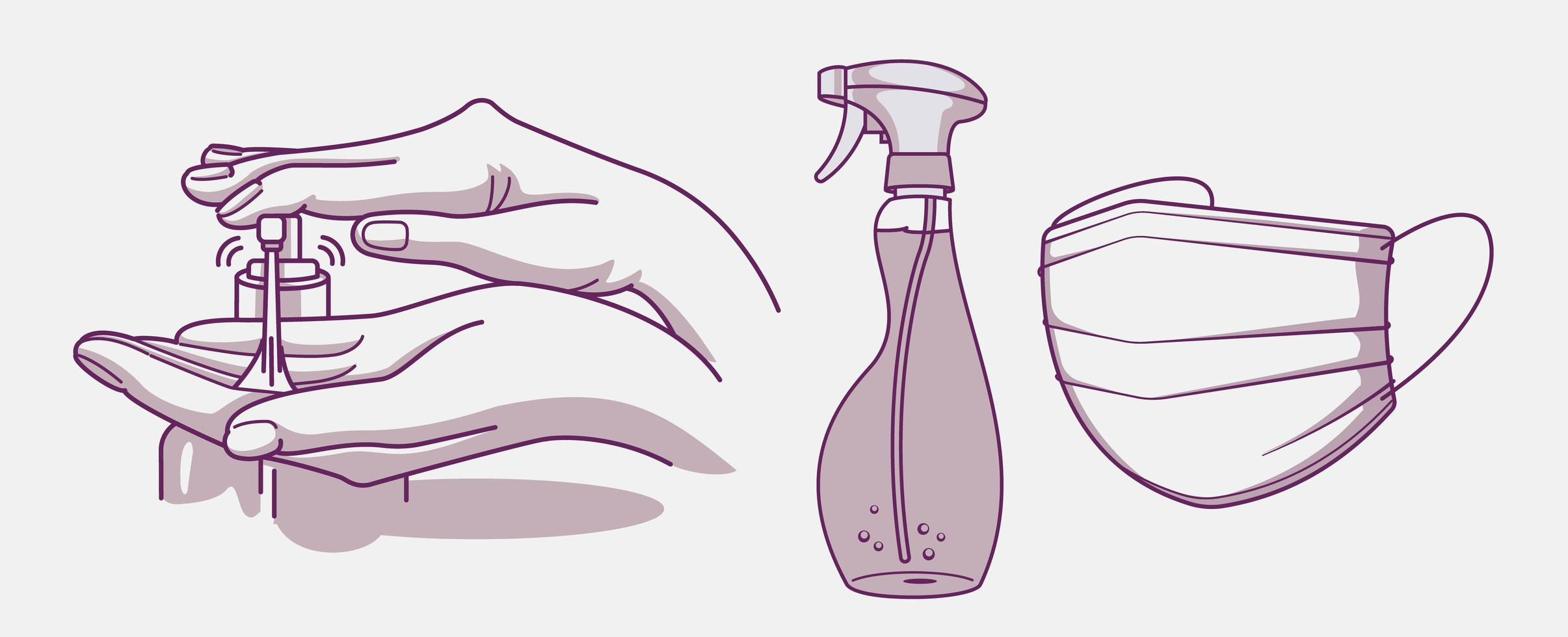 Set of hygiene and infection prevention designs vector