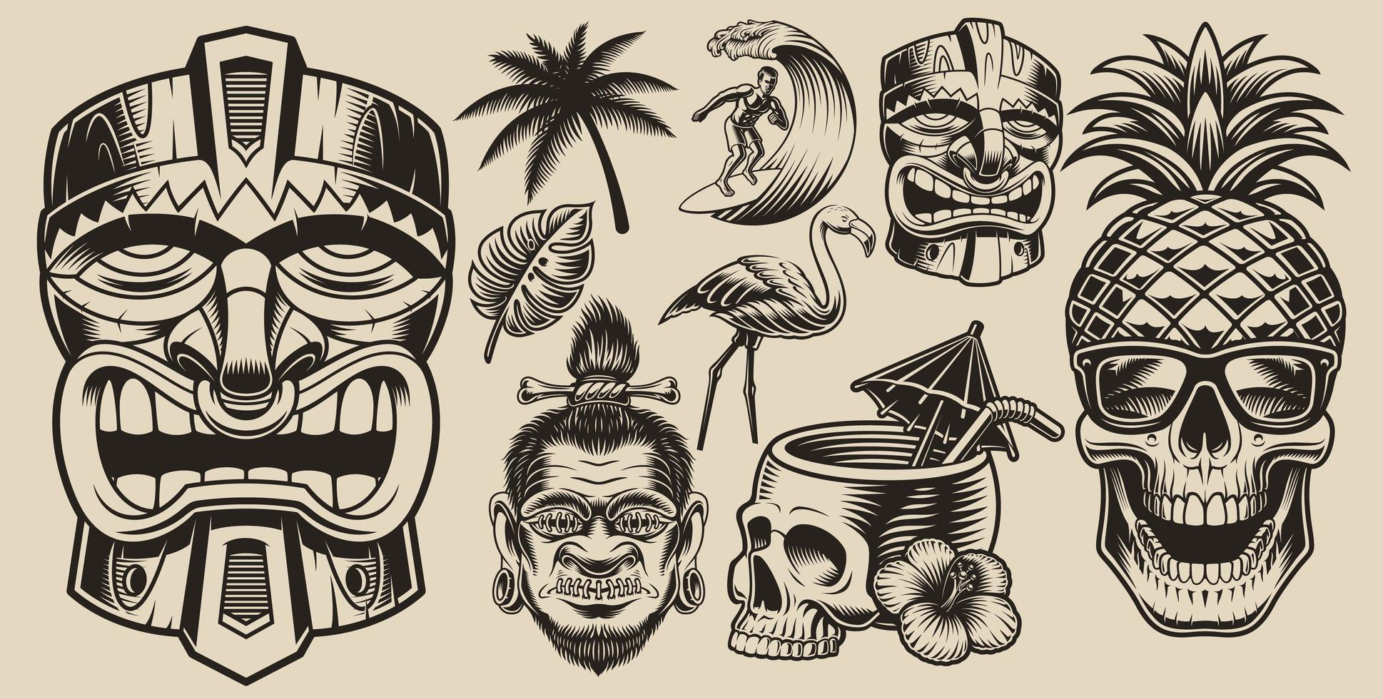Surfing, Hawai, vacation elements set vector