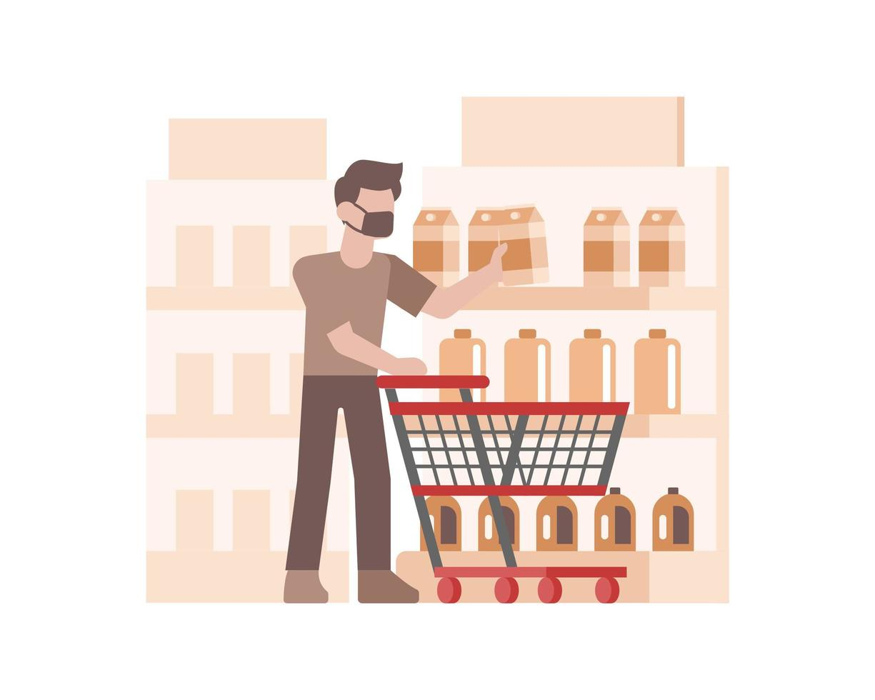 A man wearing a face mask and buying groceries vector