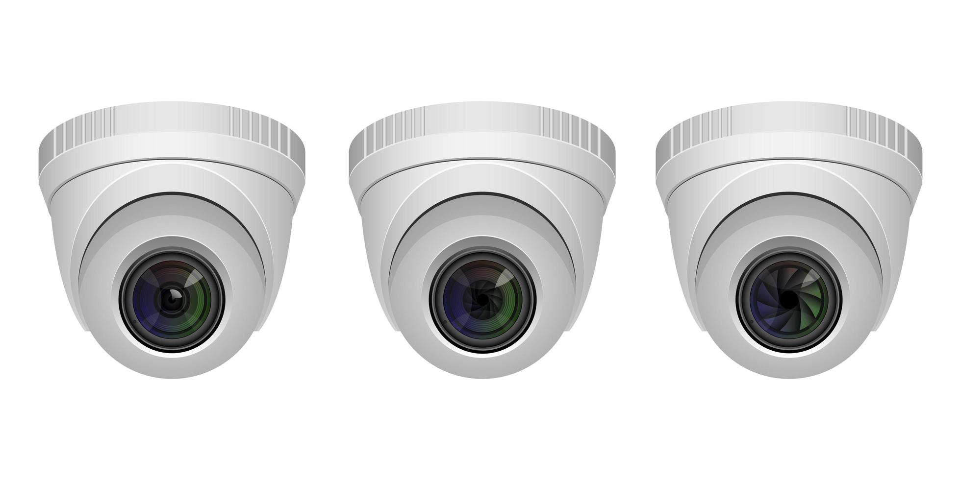 Set of surveillance cameras isolated vector