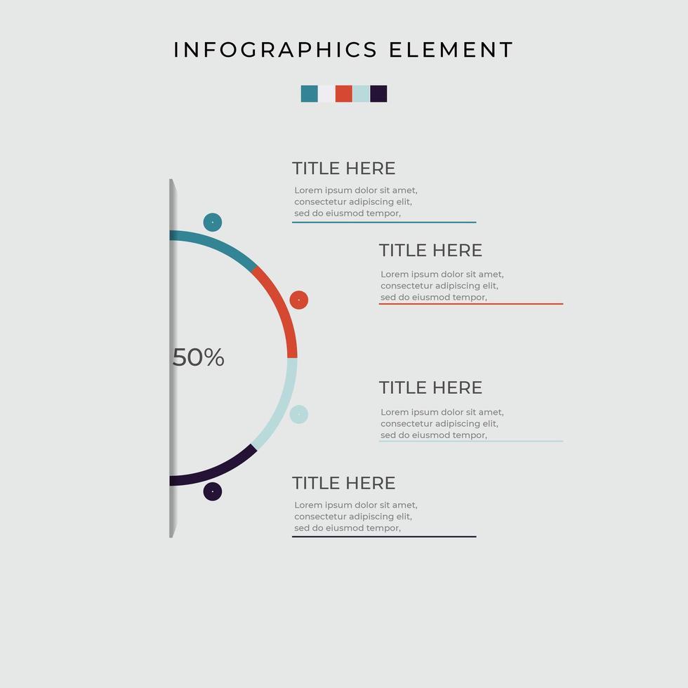 Half Circle Diagram Infographic vector
