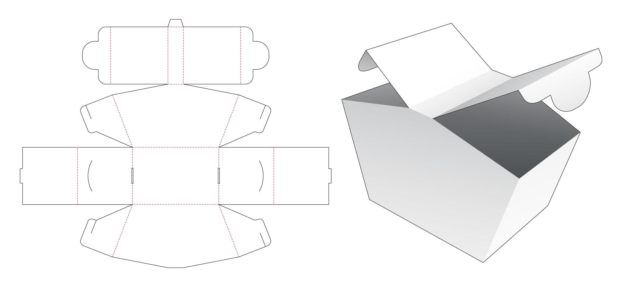 Caja de embalaje 2 puntos de apertura vector