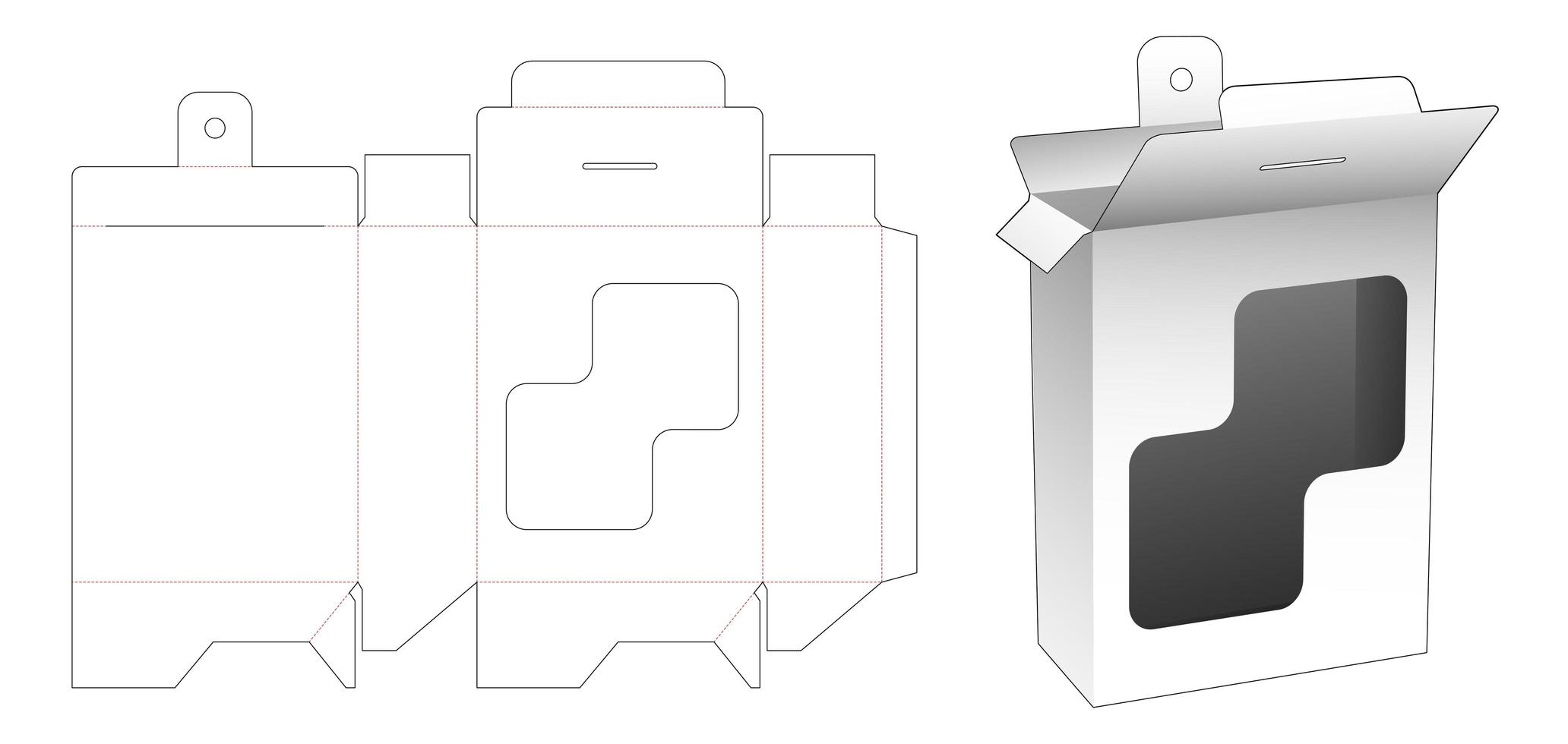 caja rectangular colgante con ventana rectangular vector