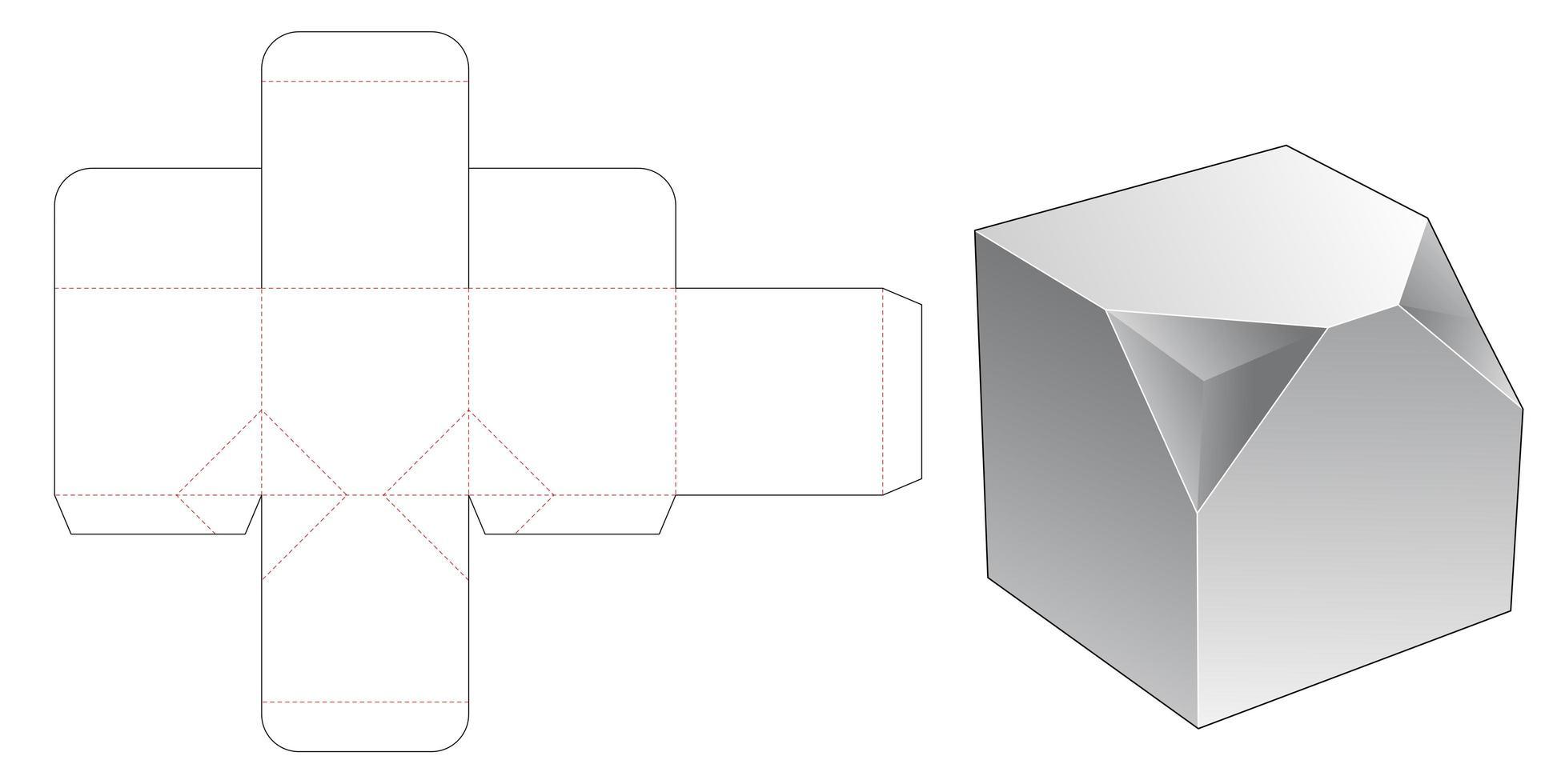 Caja cuadrada de 2 esquinas biseladas vector
