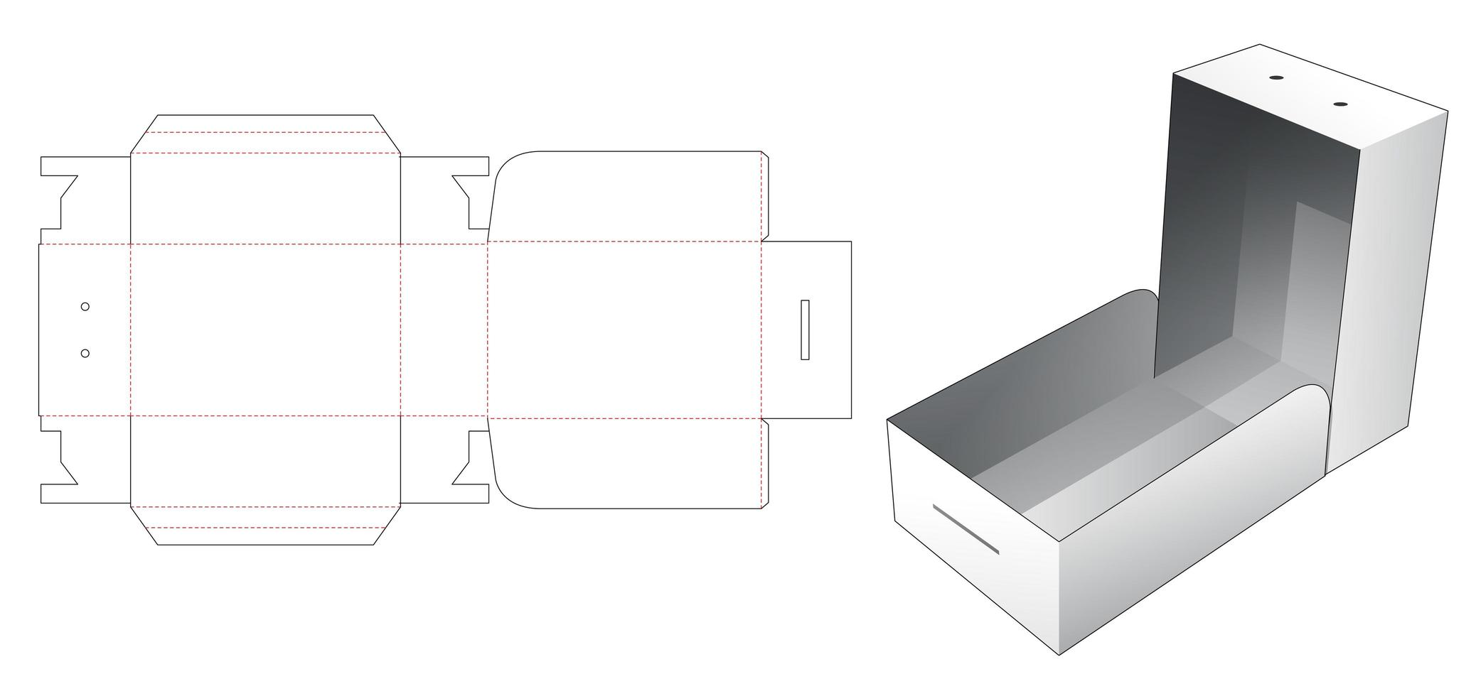 Caja de embalaje de 1 pieza con orificio para cuerda vector