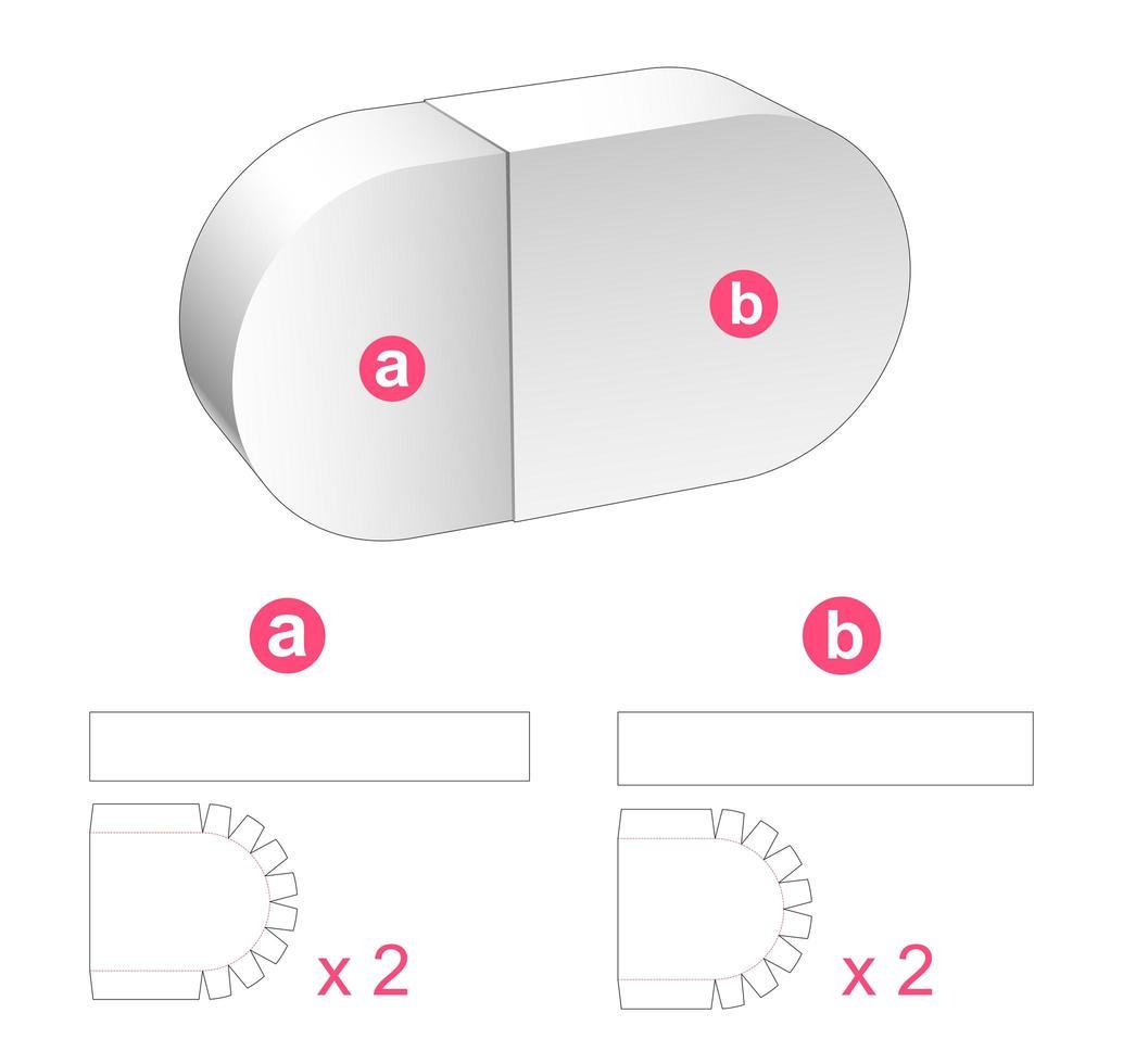 Caja de cápsulas de 2 piezas vector