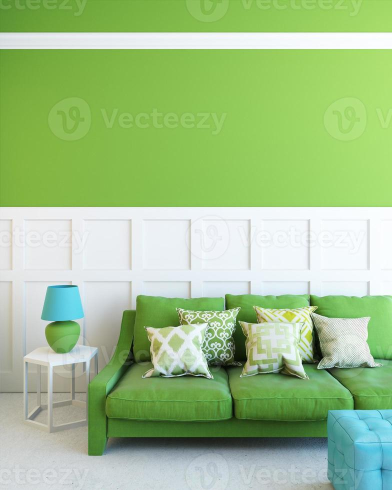 green sofa in green room photo