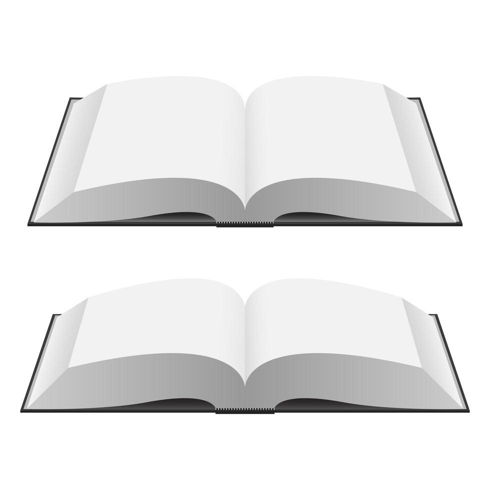 Opened book mockup vector