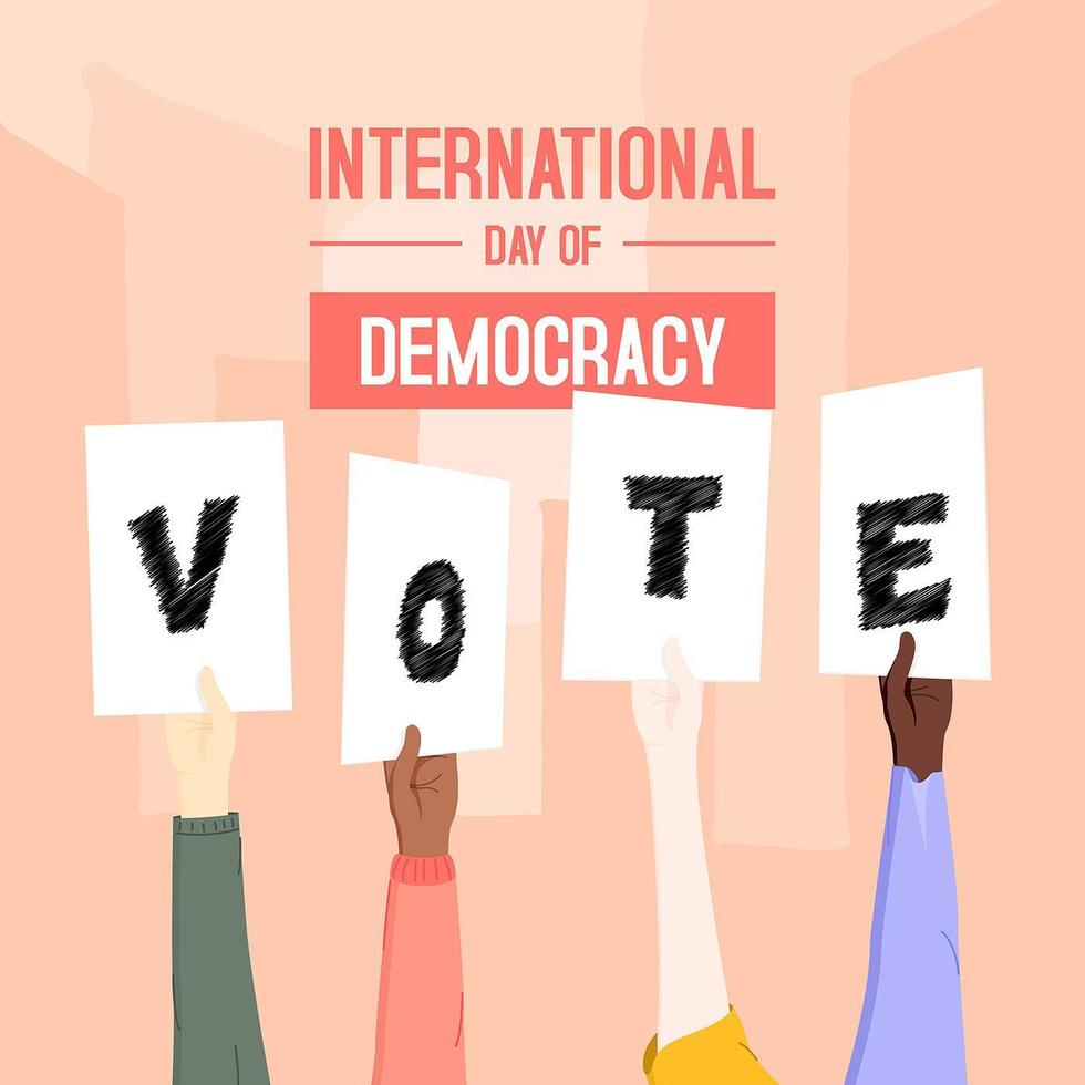 diseño de cartel de votación del día de la democracia vector