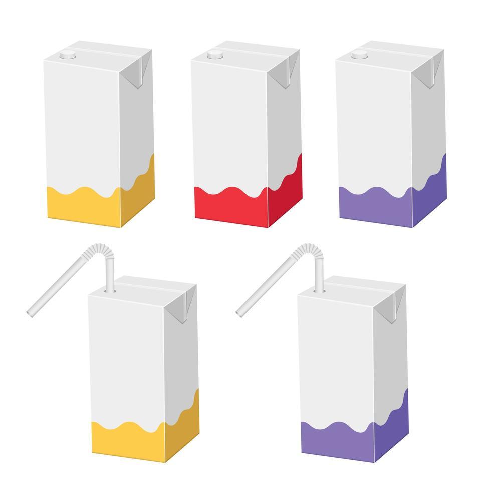 paquete de cartón de jugo de paja vector