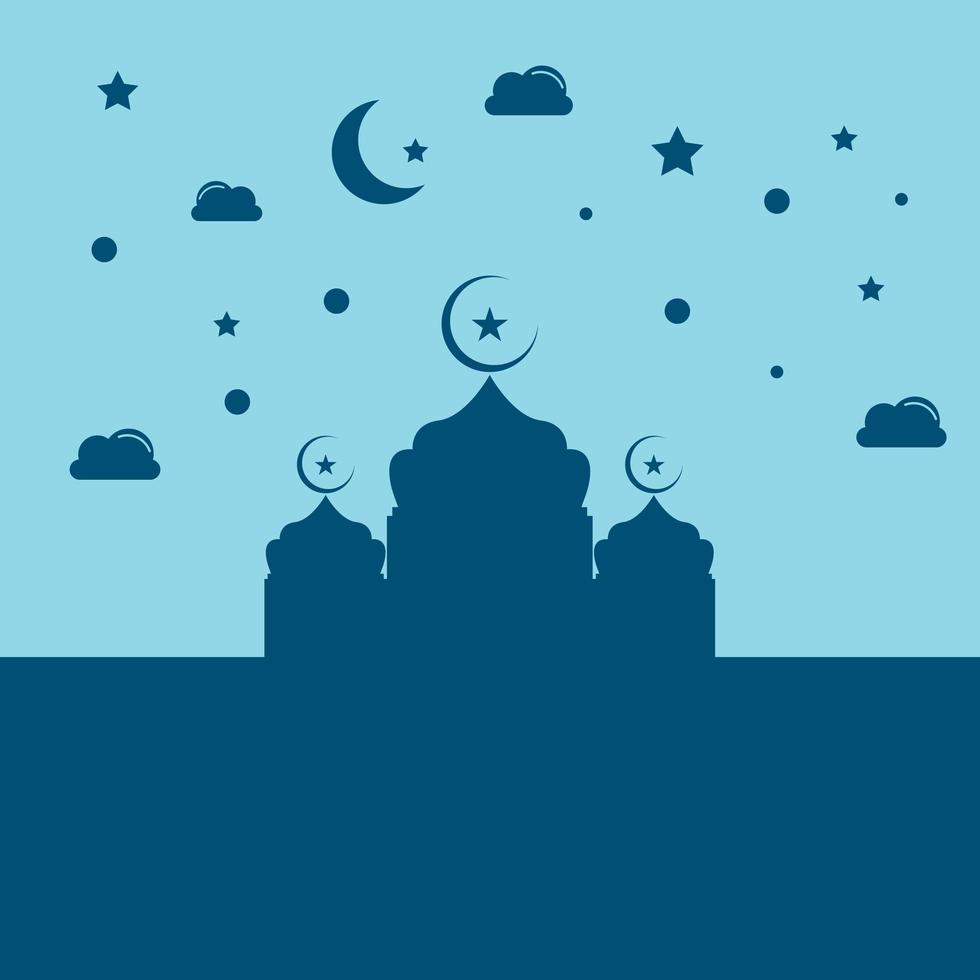 diseño de silueta de mezquita de ramadán azul vector