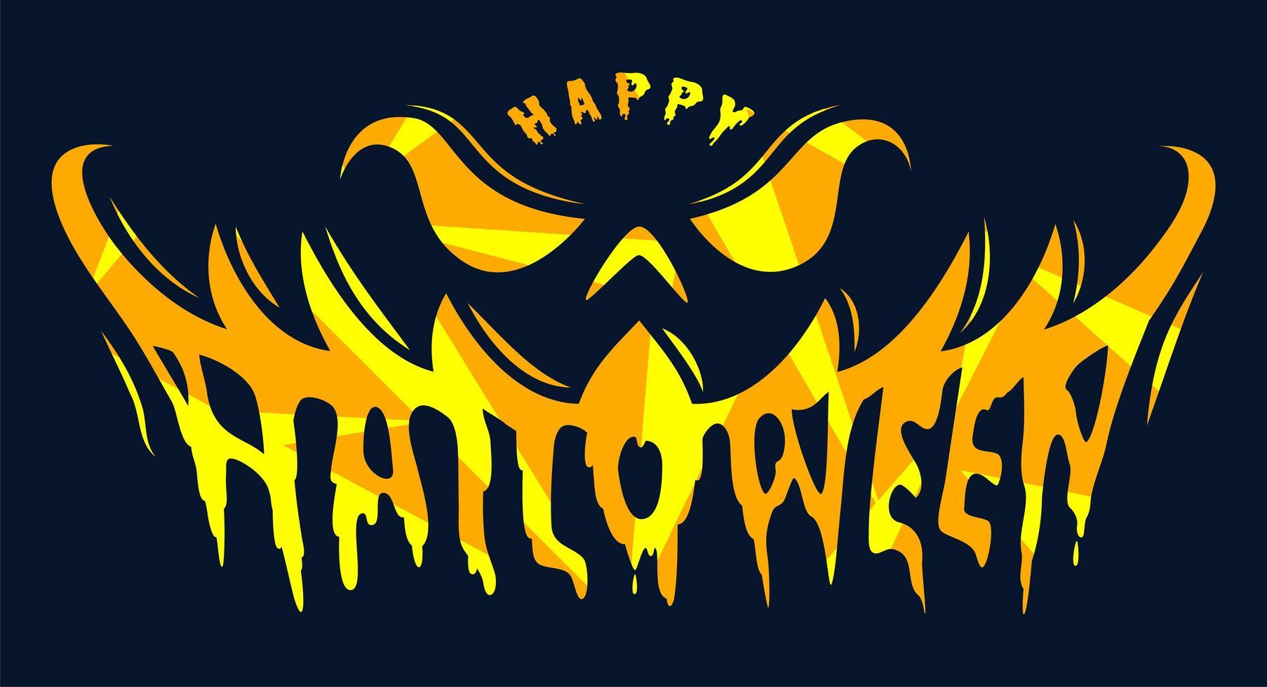 calabaza sonrisa feliz halloween texto vector