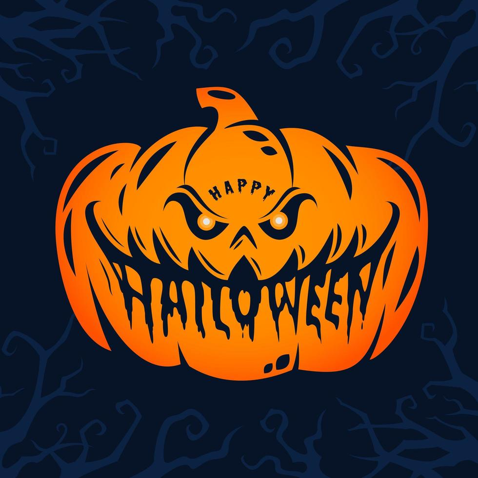 feliz diseño de cabeza de calabaza de halloween vector