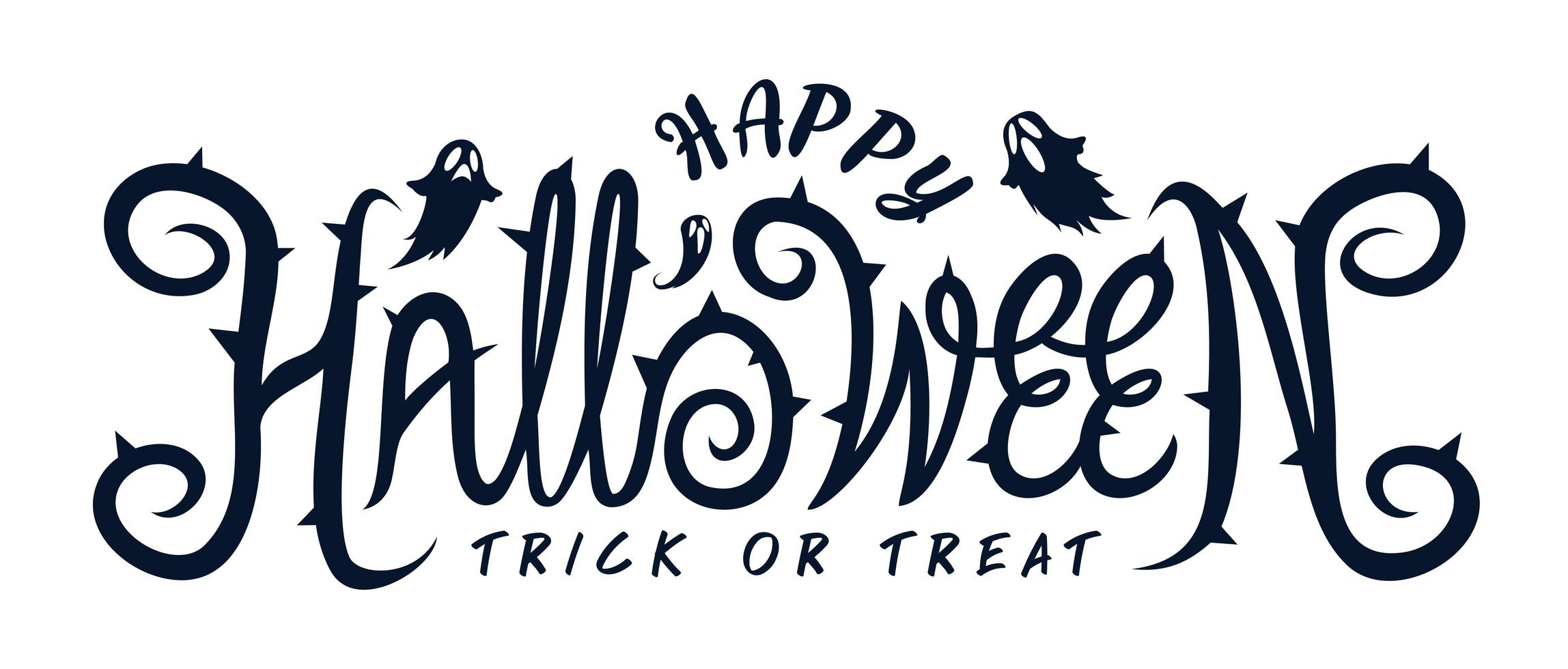 feliz texto de fiesta de halloween con fantasma vector