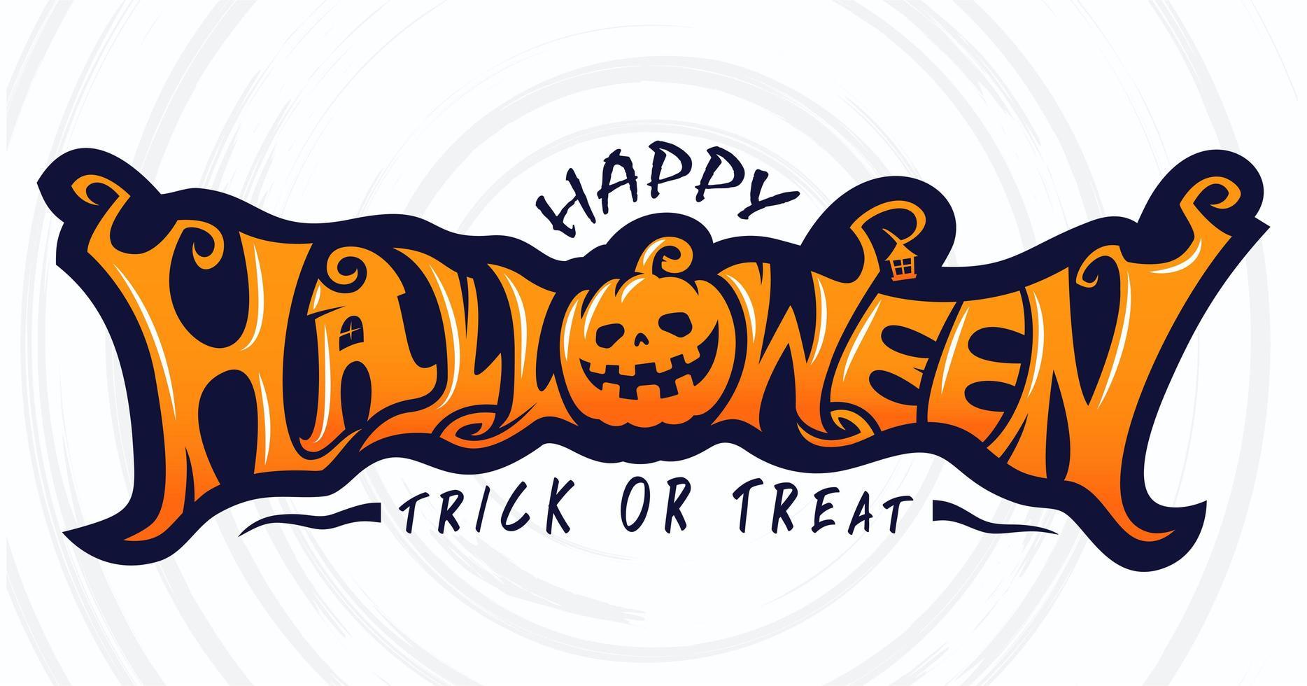 Happy Halloween Trick or Treat Text Banner vector