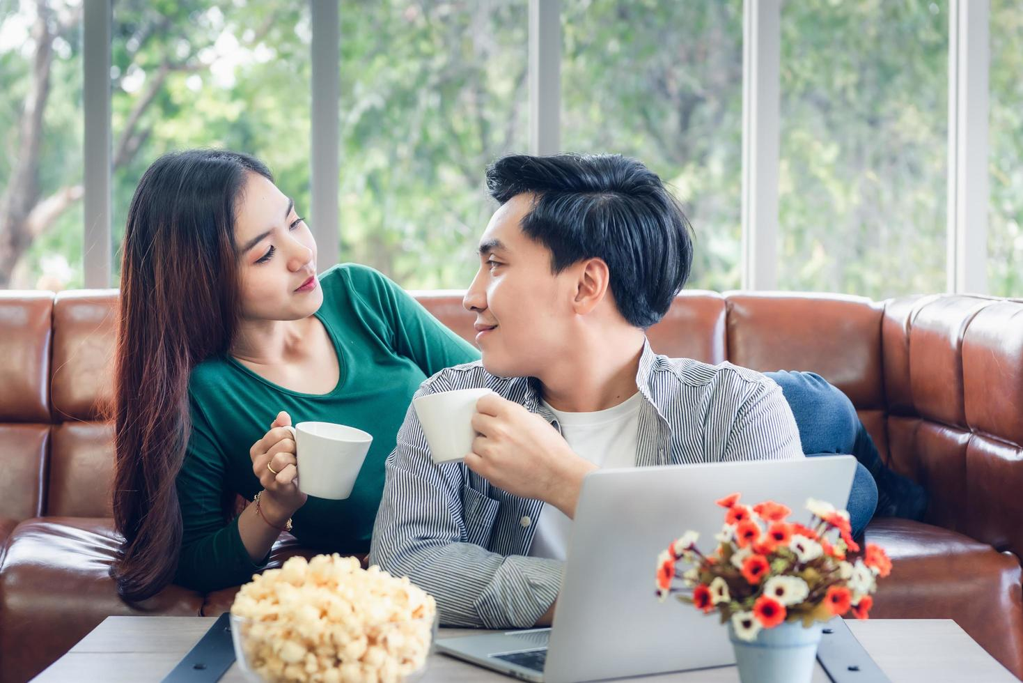 Young couple drinking coffee together  photo