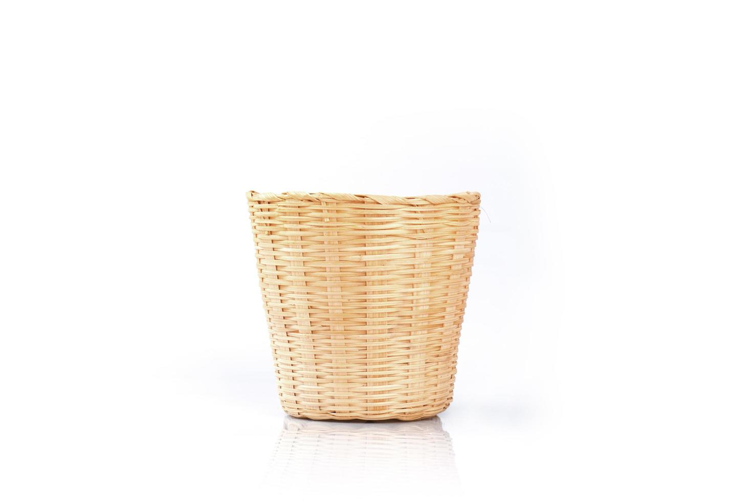 Bamboo basket on a white background photo