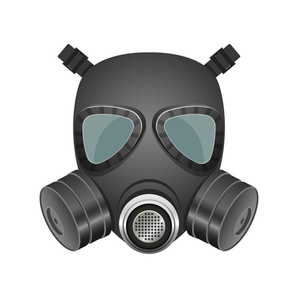 Black gas mask isolated vector