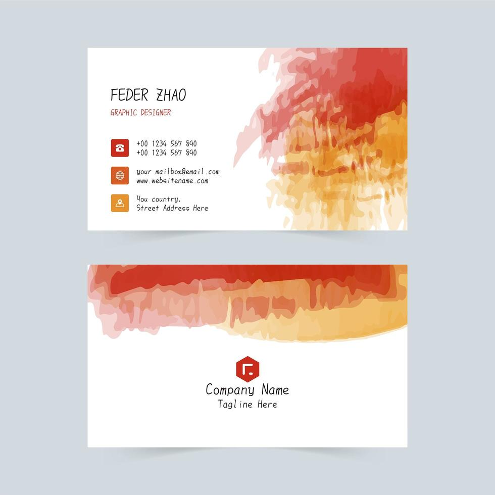 Watercolor ink corporate business card vector