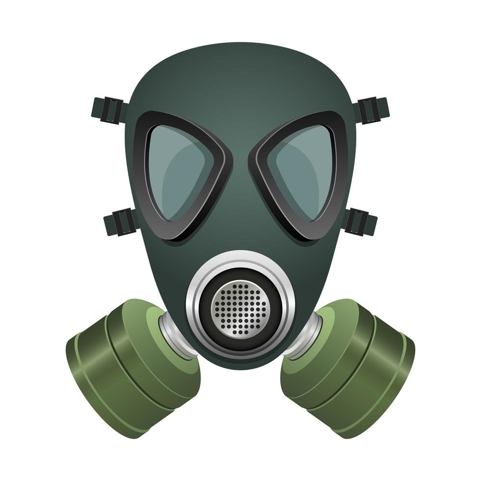 Black and green gas mask vector