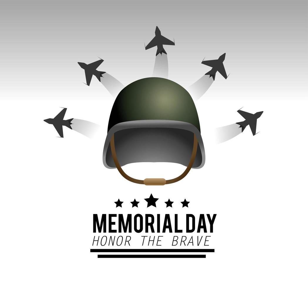 Memorial day greeting card with military helmet and aircrafts vector