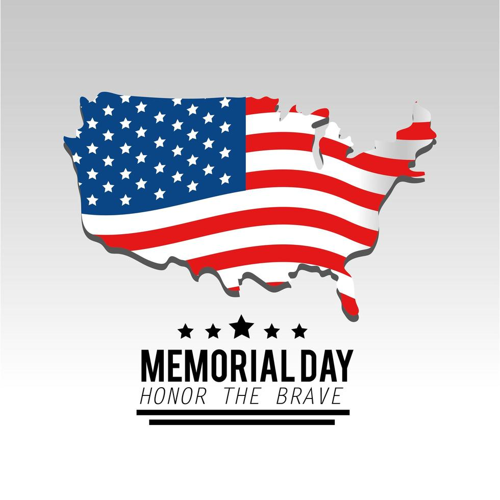 Memorial day greeting card with USA flag and map vector