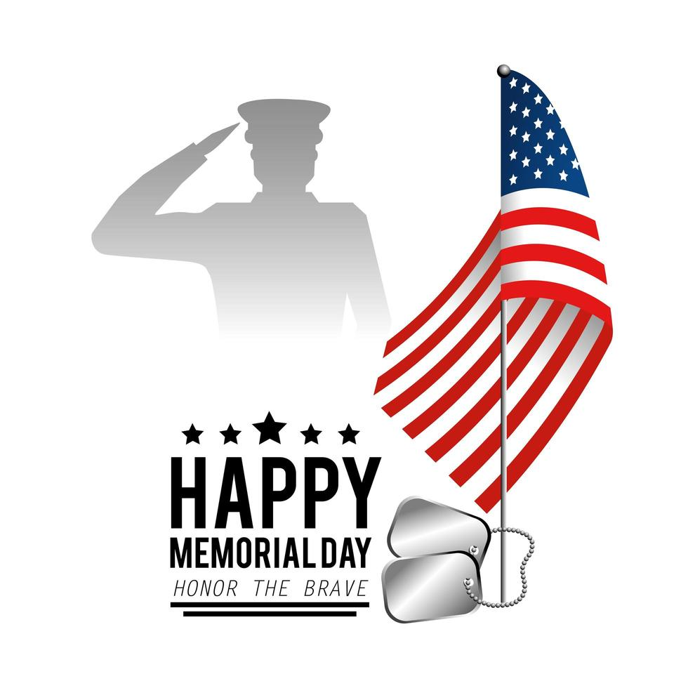 Memorial day greeting card with soldier and flag vector