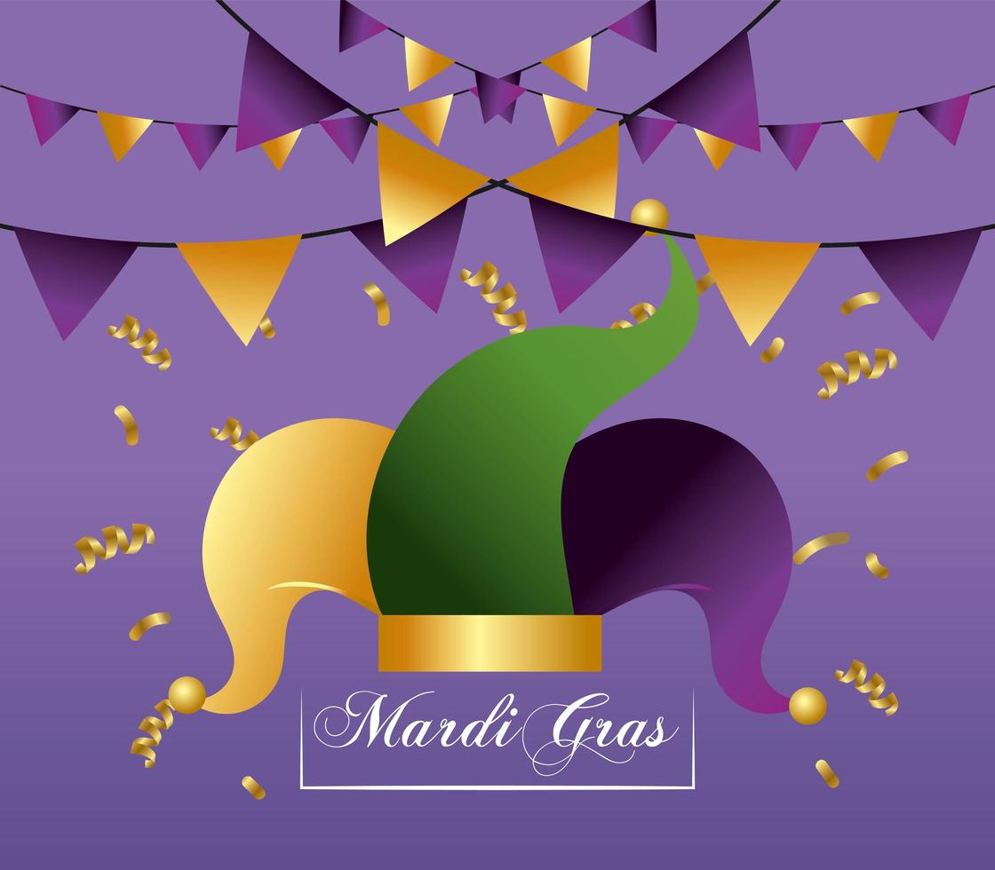 Hat and party decoration for Mardi Gras event vector