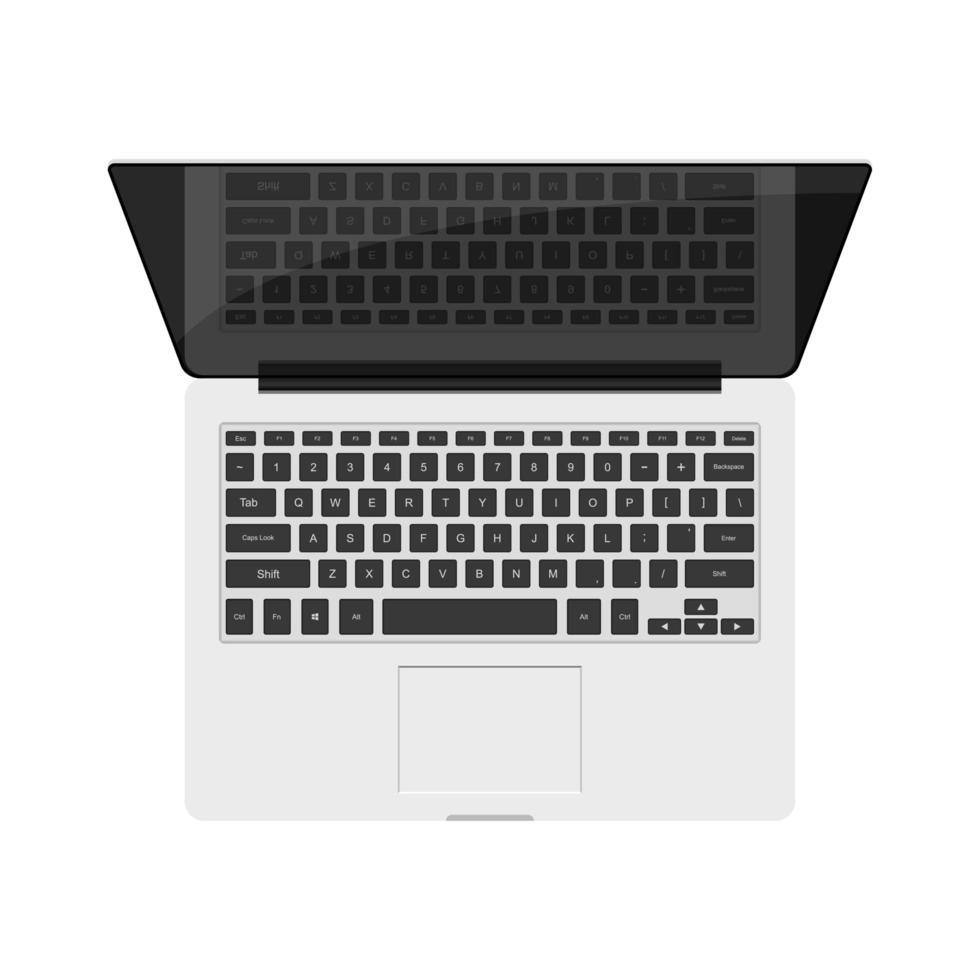 vista superior de un portátil aislado vector