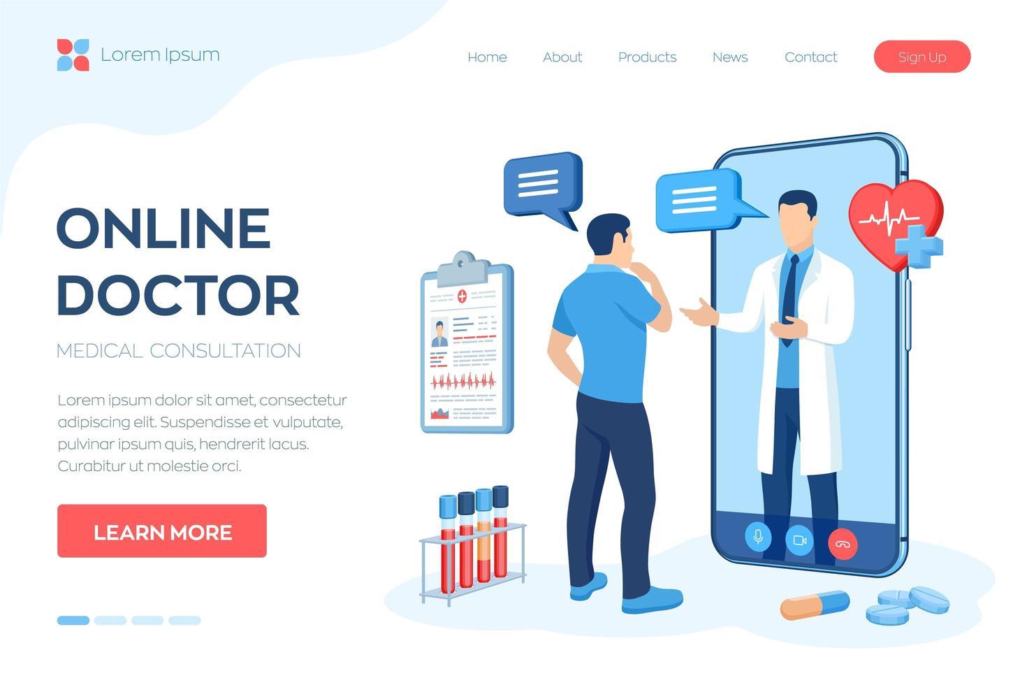concepto de servicios de asistencia y consulta médica en línea vector