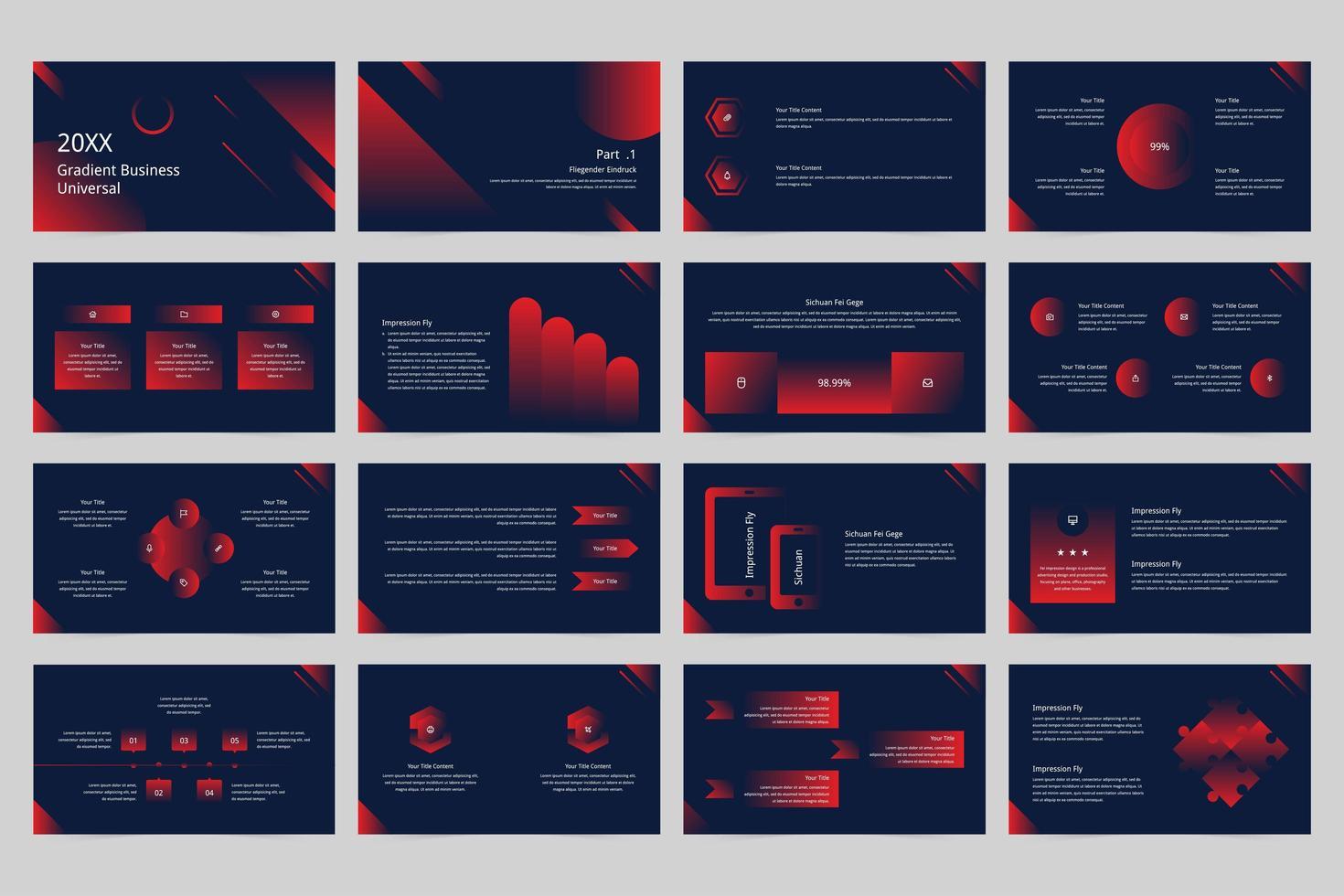Large set of gradient business universal presentation templates.  vector