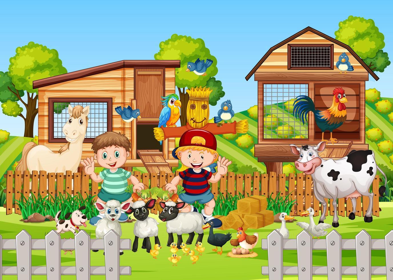 granja en escena de la naturaleza con granja de animales. vector