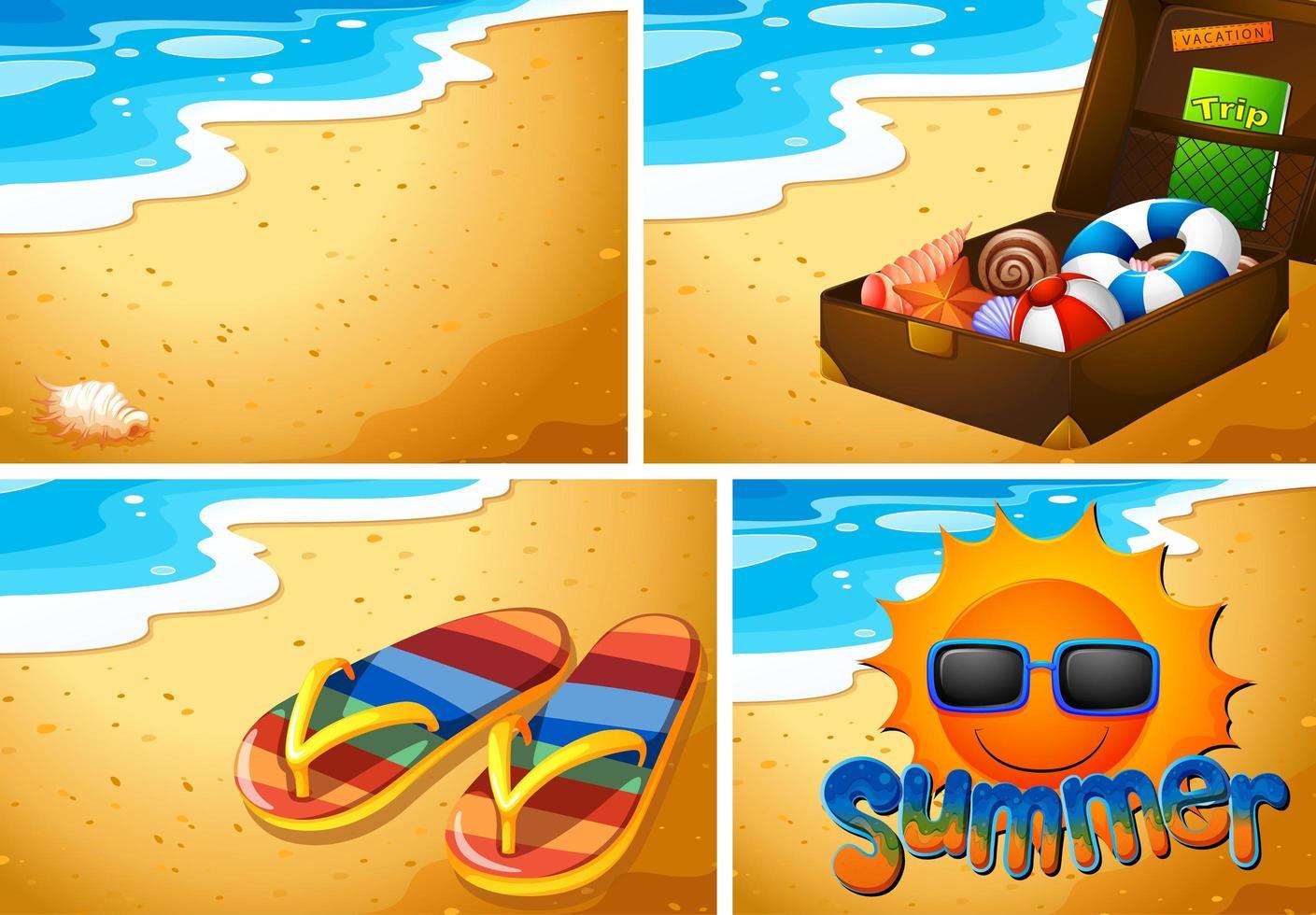 conjunto de fondo de playa de arena vector