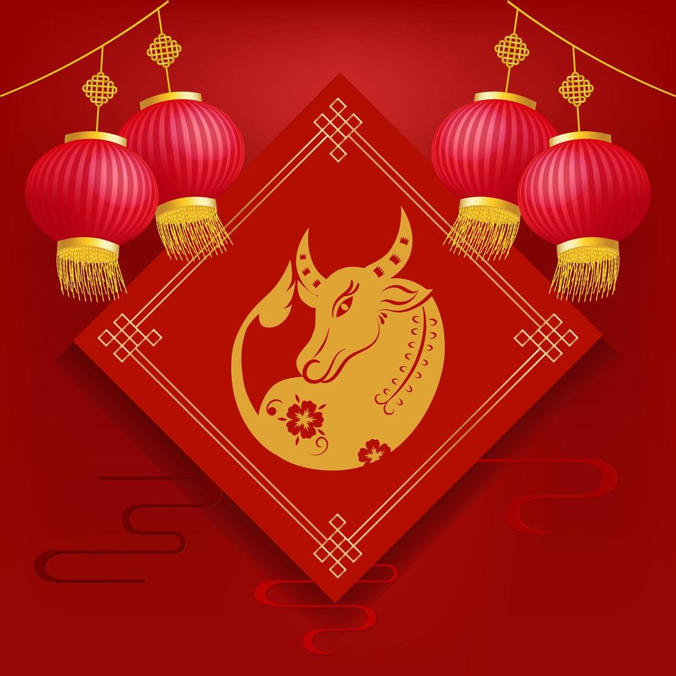 Bull with lanterns. Chinese new year 2021, the year of the ox vector