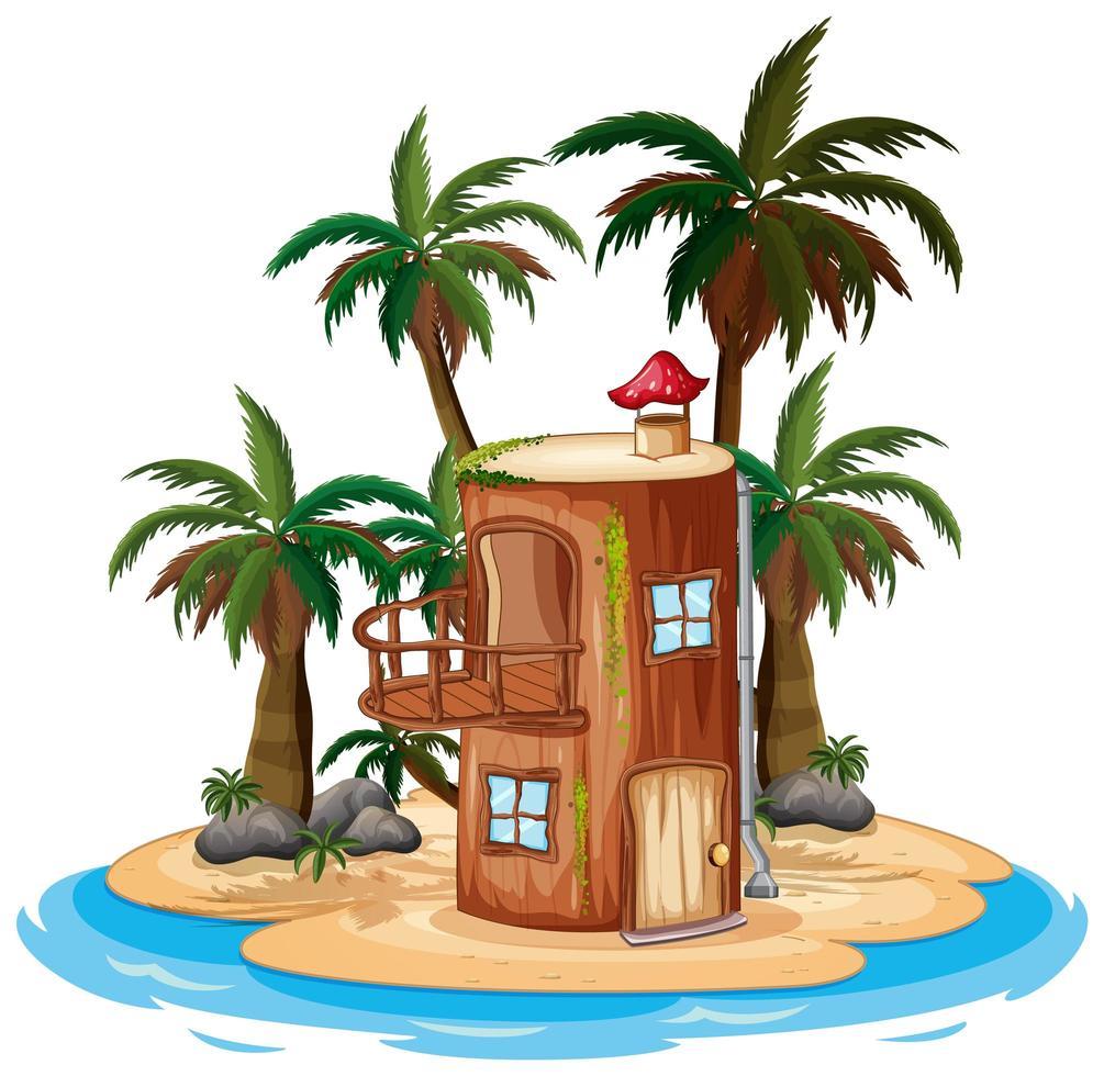 escena con casa de madera vector