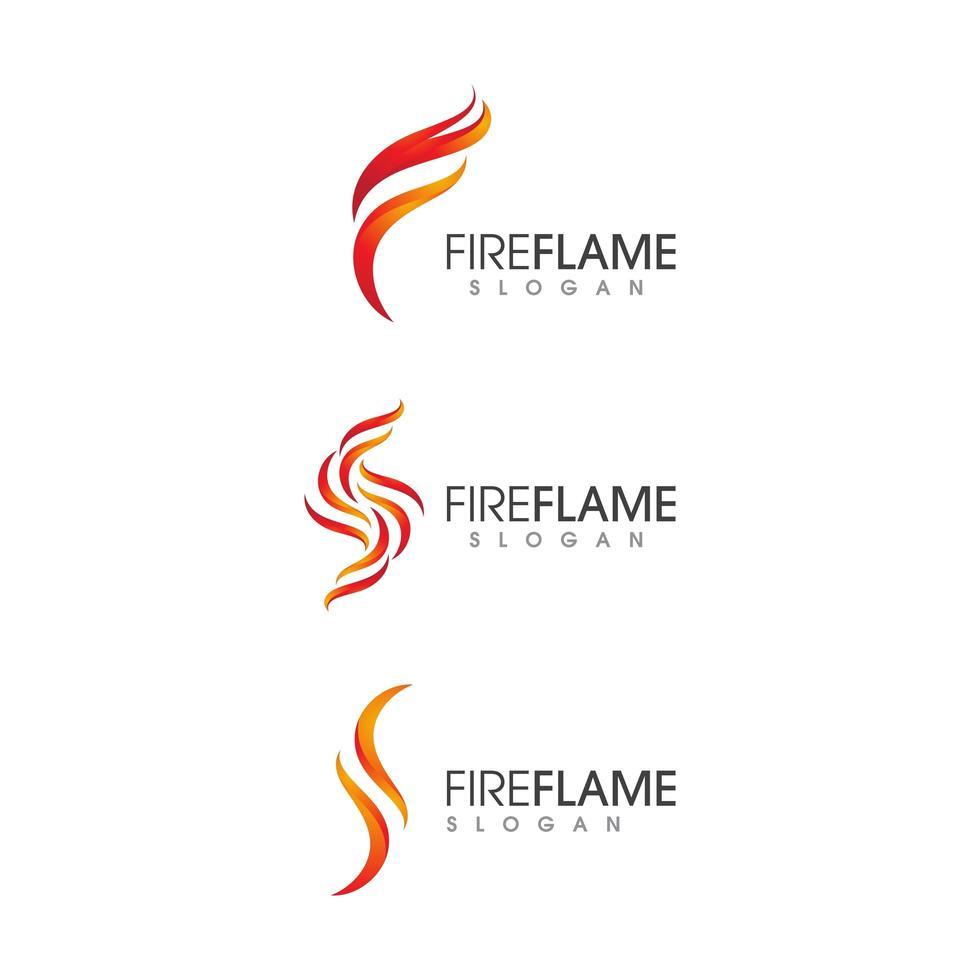 Flame fire logo icon set  vector